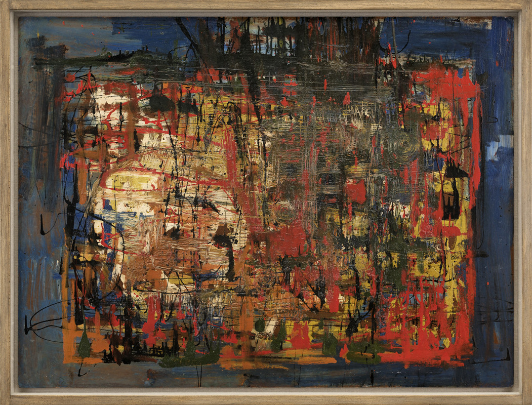 <span class=&#34;link fancybox-details-link&#34;><a href=&#34;/artists/63-john-plumb/works/541/&#34;>View Detail Page</a></span><div class=&#34;artist&#34;><strong>John Plumb</strong></div> 1927-2008 <div class=&#34;title&#34;><em>Painting 1957</em></div> <div class=&#34;signed_and_dated&#34;>signed verso<br /> dated 1957 on label<br /> inscribed NVC, ref 132<br /> </div> <div class=&#34;medium&#34;>oil on board</div> <div class=&#34;dimensions&#34;>91.5 x 122 cms (36 x 48 ins)<br /> framed: 99 x 130 cms  (39 x 51 ins)</div>
