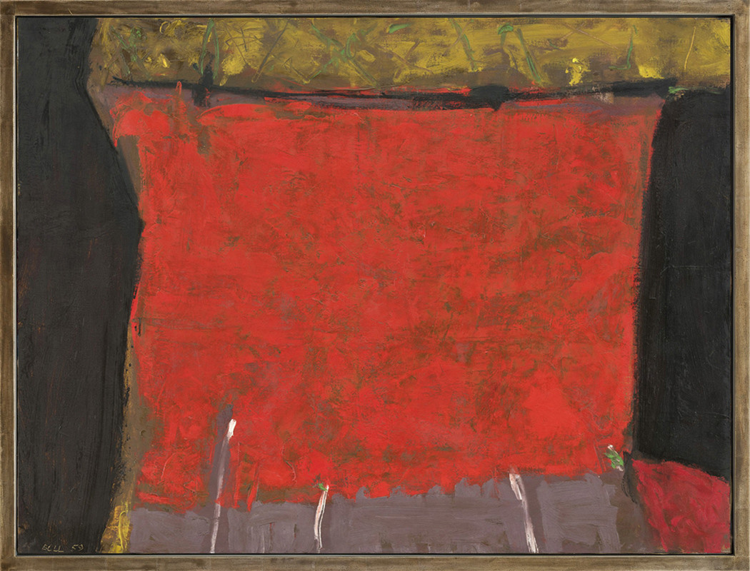 <span class=&#34;link fancybox-details-link&#34;><a href=&#34;/artists/25-trevor-bell/works/126/&#34;>View Detail Page</a></span><div class=&#34;artist&#34;><strong>Trevor Bell</strong></div> 1930-2017 <div class=&#34;title&#34;><em>Red, Black and Intensities</em></div> <div class=&#34;signed_and_dated&#34;>signed and dated 1959<br />titled verso</div> <div class=&#34;medium&#34;>oil on canvas</div> <div class=&#34;dimensions&#34;>91.5 x 122 cms (36 x 48 ins)<br /> framed: 101.5 x 141 cms (43.5 x 55.5 ins)</div>