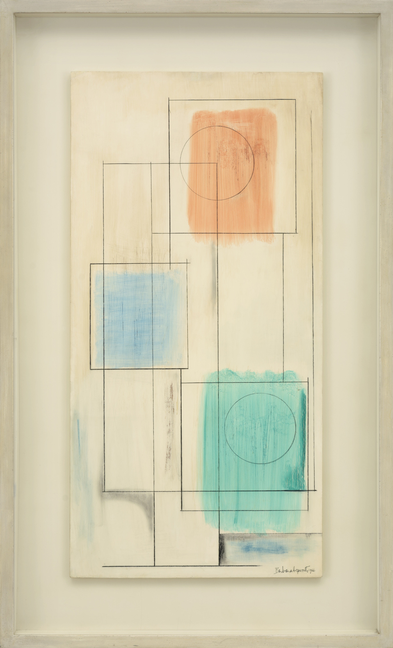 <span class=&#34;link fancybox-details-link&#34;><a href=&#34;/artists/129-barbara-hepworth/works/779/&#34;>View Detail Page</a></span><div class=&#34;artist&#34;><strong>Barbara Hepworth</strong></div> 1903-1975 <div class=&#34;title&#34;><em>Square Forms I</em></div> <div class=&#34;signed_and_dated&#34;>signed and dated 1966<br /> also signed, titled & dated verso</div> <div class=&#34;medium&#34;>oil and graphite on gesso prepared board</div> <div class=&#34;dimensions&#34;>91.5 x 45.5 cms (36 x 18 ins)</div>