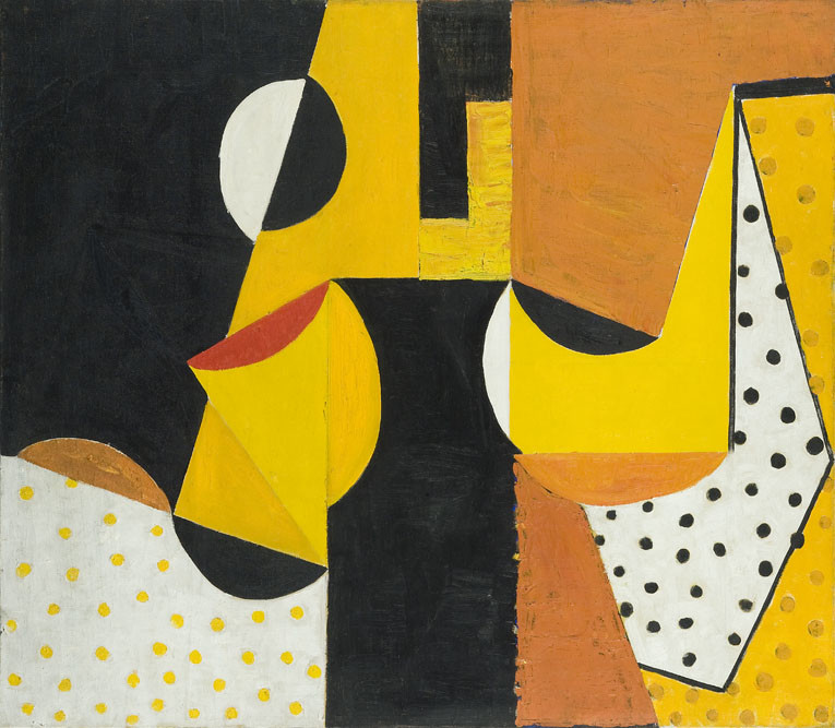 <span class=&#34;link fancybox-details-link&#34;><a href=&#34;/artists/46-terry-frost/works/691/&#34;>View Detail Page</a></span><div class=&#34;artist&#34;><strong>Terry Frost</strong></div> 1915-2003 <div class=&#34;title&#34;><em>Black, Yellow & Ochre</em></div> <div class=&#34;signed_and_dated&#34;>signed, dated 1953 and titled verso</div> <div class=&#34;medium&#34;>oil on canvas</div> <div class=&#34;dimensions&#34;>86.5 x 98 cms (34 x 38.5 ins)</div>