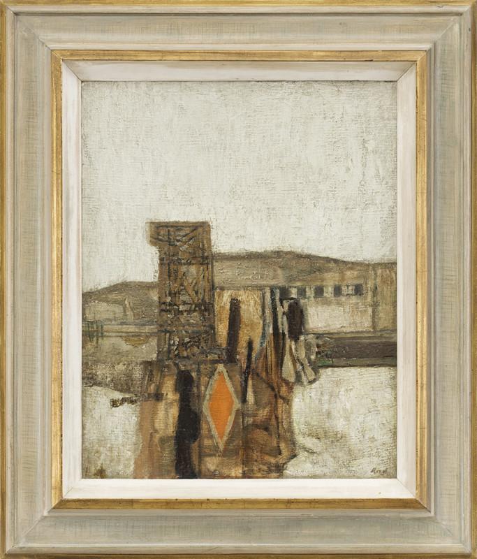 <span class=&#34;link fancybox-details-link&#34;><a href=&#34;/artists/34-prunella-clough/works/36/&#34;>View Detail Page</a></span><div class=&#34;artist&#34;><strong>Prunella Clough</strong></div> 1919-1999 <div class=&#34;title&#34;><em>Landscape with Orange Sign</em></div> <div class=&#34;signed_and_dated&#34;>dated 1958 and titled label verso</div> <div class=&#34;medium&#34;>oil on canvas</div> <div class=&#34;dimensions&#34;>51 x 40 cms (20 x 16 ins)<br /> framed: 70 x 60 cms (27.5 x 23.5 ins)</div>