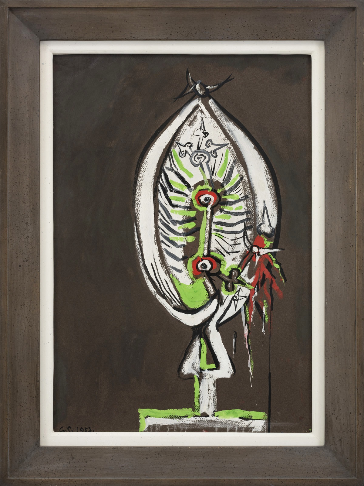 <span class=&#34;link fancybox-details-link&#34;><a href=&#34;/artists/103-graham-sutherland/works/141/&#34;>View Detail Page</a></span><div class=&#34;artist&#34;><strong>Graham Sutherland</strong></div> 1903-1980 <div class=&#34;title&#34;><em>Thorn Head</em></div> <div class=&#34;signed_and_dated&#34;>signed with artist's initials and dated 1953</div> <div class=&#34;medium&#34;>gouache</div> <div class=&#34;dimensions&#34;>66 x 45.5 cms (26 x 18 ins)<br /> framed: 81 x 61 cms (32 x 24 ins)</div>