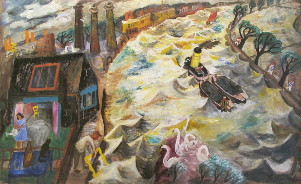 <span class=&#34;link fancybox-details-link&#34;><a href=&#34;/artists/105-julian-trevelyan/works/469/&#34;>View Detail Page</a></span><div class=&#34;artist&#34;><strong>Julian Trevelyan</strong></div> 1910-1988 <div class=&#34;title&#34;><em>Durham Wharf</em></div> <div class=&#34;signed_and_dated&#34;>signed and dated 1944 </div> <div class=&#34;medium&#34;>oil on canvas</div> <div class=&#34;dimensions&#34;>76 x 122 cms (30 x 48 ins)<br /> framed: 99 x 147 cms (39 x 58 ins)</div>