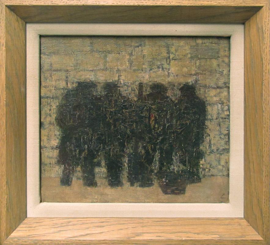 <span class=&#34;link fancybox-details-link&#34;><a href=&#34;/artists/34-prunella-clough/works/207/&#34;>View Detail Page</a></span><div class=&#34;artist&#34;><strong>Prunella Clough</strong></div> 1919-1999 <div class=&#34;title&#34;><em>Four Fisherman</em></div> <div class=&#34;details_override&#34;><div>oil on canvas laid to board</div><div>signed with artist's initial</div><div>titled label verso</div><div>painted circa 1944</div><div>20.5 x 23 cms (8 x 9 ins)</div><div>framed: 25.5 x 28 cms</div></div>