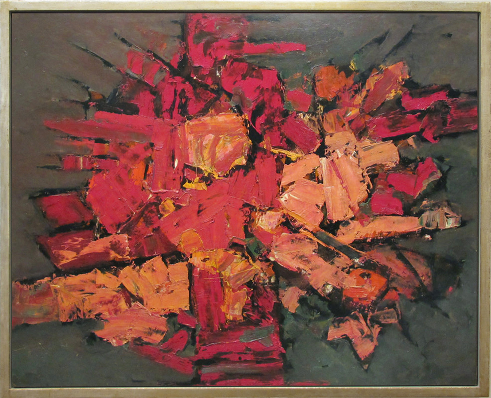 <span class=&#34;link fancybox-details-link&#34;><a href=&#34;/artists/66-frank-avray-wilson/works/18/&#34;>View Detail Page</a></span><div class=&#34;artist&#34;><strong>Frank Avray Wilson</strong></div> 1914-2009 <div class=&#34;title&#34;><em>Red Explosive</em></div> <div class=&#34;medium&#34;>oil on board painted circa 1960</div> <div class=&#34;dimensions&#34;>99 x 124.5 cms (39 x 49 ins)<br /> framed: 107.5 x 133 cms (42 x 52 ins)</div>