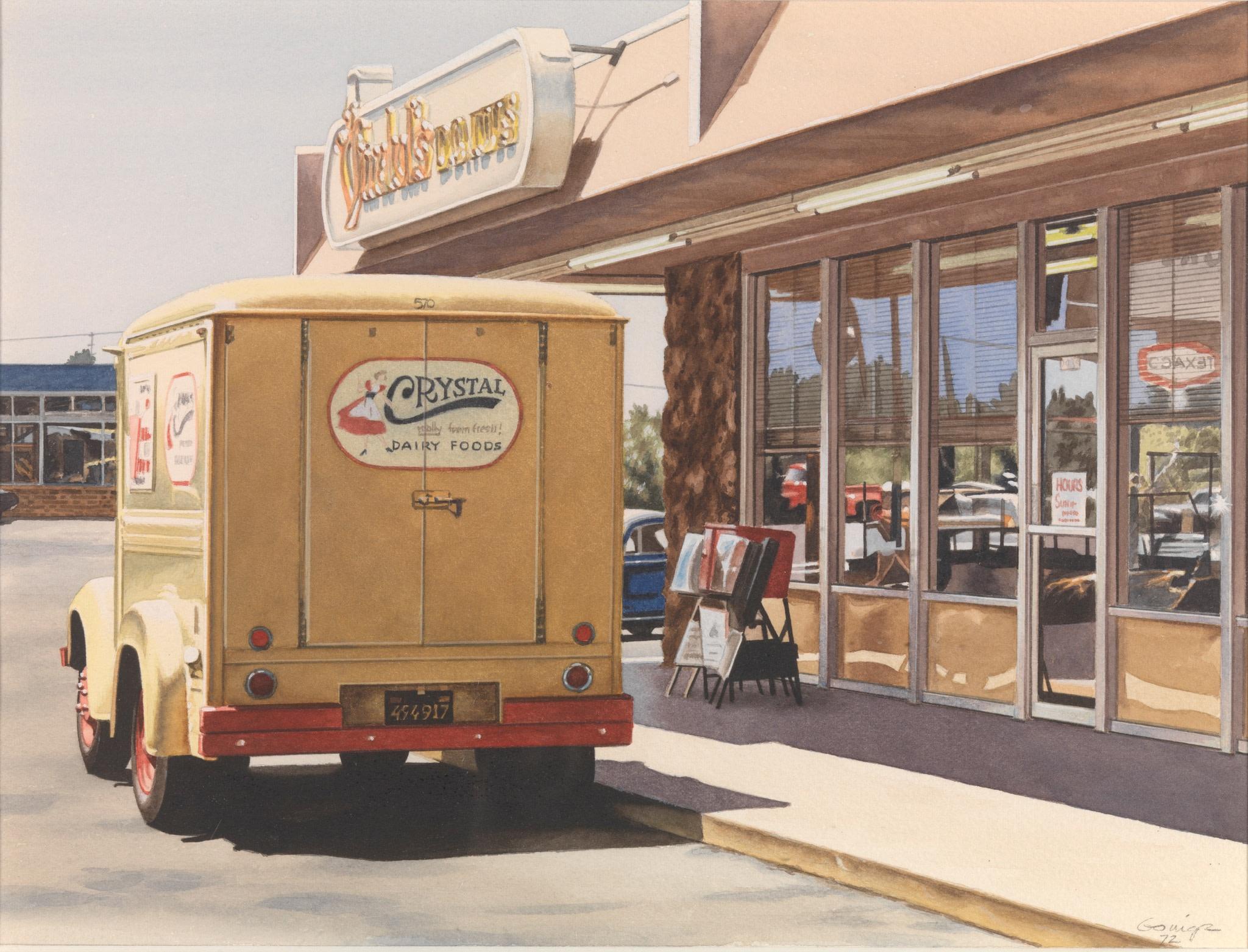 <span class=&#34;link fancybox-details-link&#34;><a href=&#34;/artists/113-ralph-goings/works/1587/&#34;>View Detail Page</a></span><div class=&#34;artist&#34;><strong>Ralph Goings</strong></div> <div class=&#34;title&#34;><em>Crystal Delivery Truck</em>, 1972</div> <div class=&#34;medium&#34;>watercolour on paper</div> <div class=&#34;dimensions&#34;>23 x 30.5 cm</div>