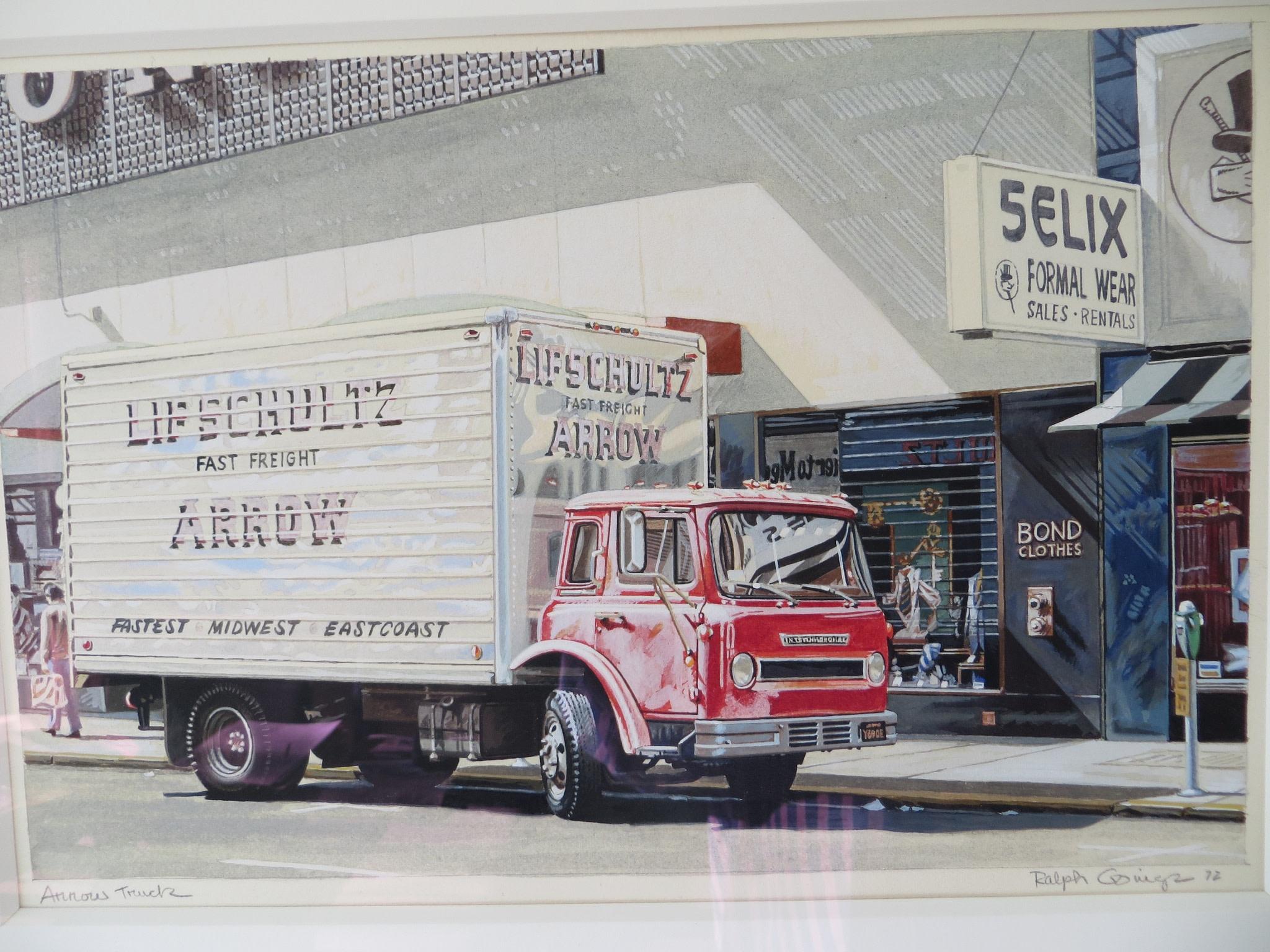 <span class=&#34;link fancybox-details-link&#34;><a href=&#34;/artists/113-ralph-goings/works/750/&#34;>View Detail Page</a></span><div class=&#34;artist&#34;><strong>Ralph Goings</strong></div> <div class=&#34;title&#34;><em>Arrow truck</em></div> <div class=&#34;medium&#34;>Watercolour</div> <div class=&#34;dimensions&#34;>23 x 30.5 cm</div>