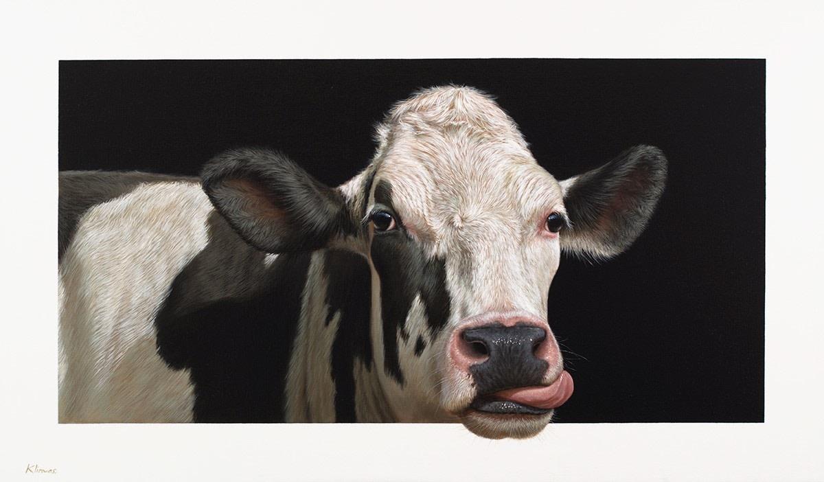 <span class=&#34;link fancybox-details-link&#34;><a href=&#34;/artists/29-alexandra-klimas/works/2358/&#34;>View Detail Page</a></span><div class=&#34;artist&#34;><strong>Alexandra Klimas</strong></div> <div class=&#34;title&#34;><em>Susan the Cow</em>, 2016</div> <div class=&#34;medium&#34;>Oil on canvas</div> <div class=&#34;dimensions&#34;>70 x 120 cm</div><div class=&#34;copyright_line&#34;>Copyright The Artist</div>