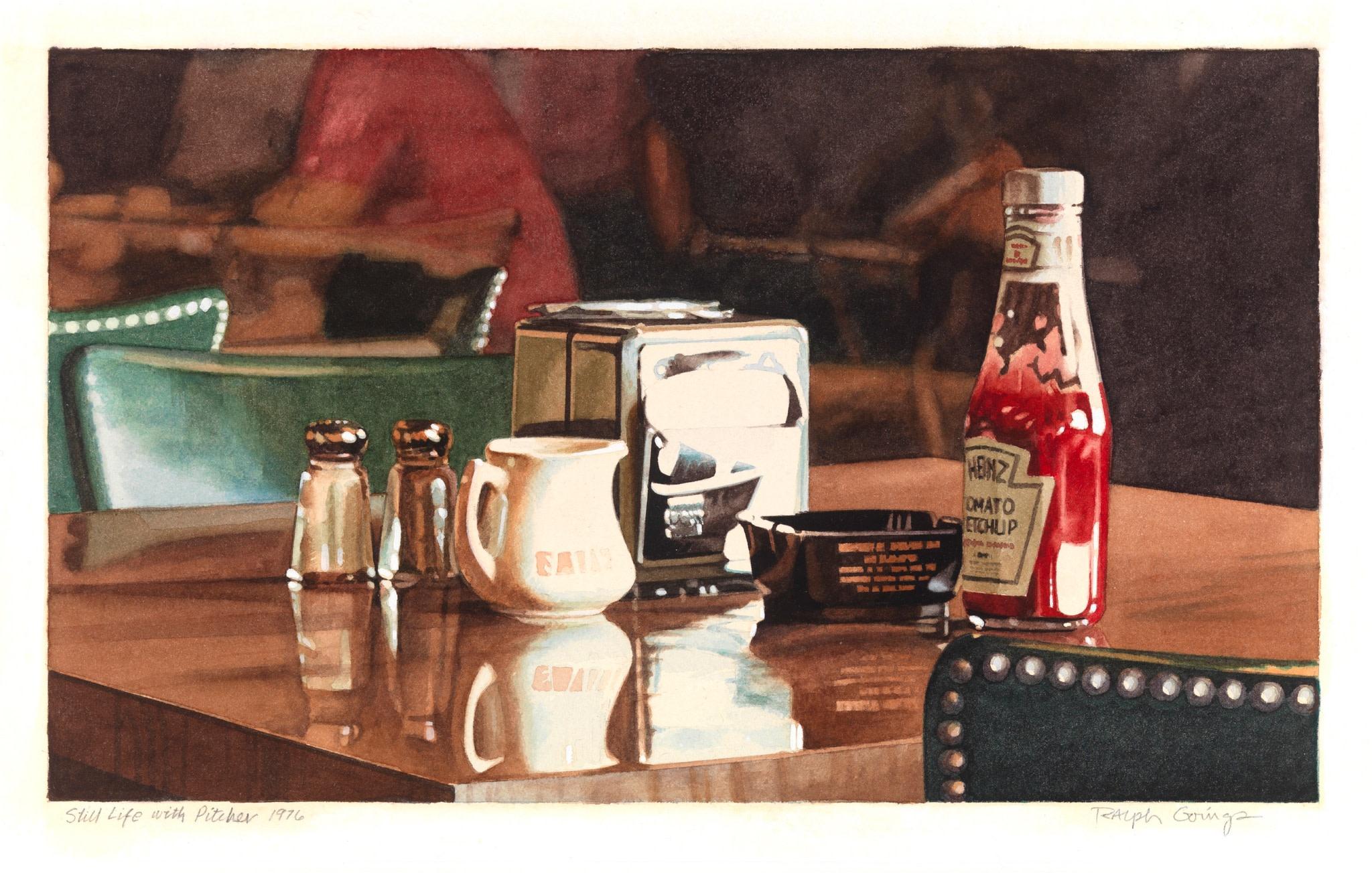 <span class=&#34;link fancybox-details-link&#34;><a href=&#34;/artists/113-ralph-goings/works/1578/&#34;>View Detail Page</a></span><div class=&#34;artist&#34;><strong>Ralph Goings</strong></div> <div class=&#34;title&#34;><em>Coffee shop still life</em></div> <div class=&#34;medium&#34;>watercolour on paper</div> <div class=&#34;dimensions&#34;>23 x 21 cm</div>