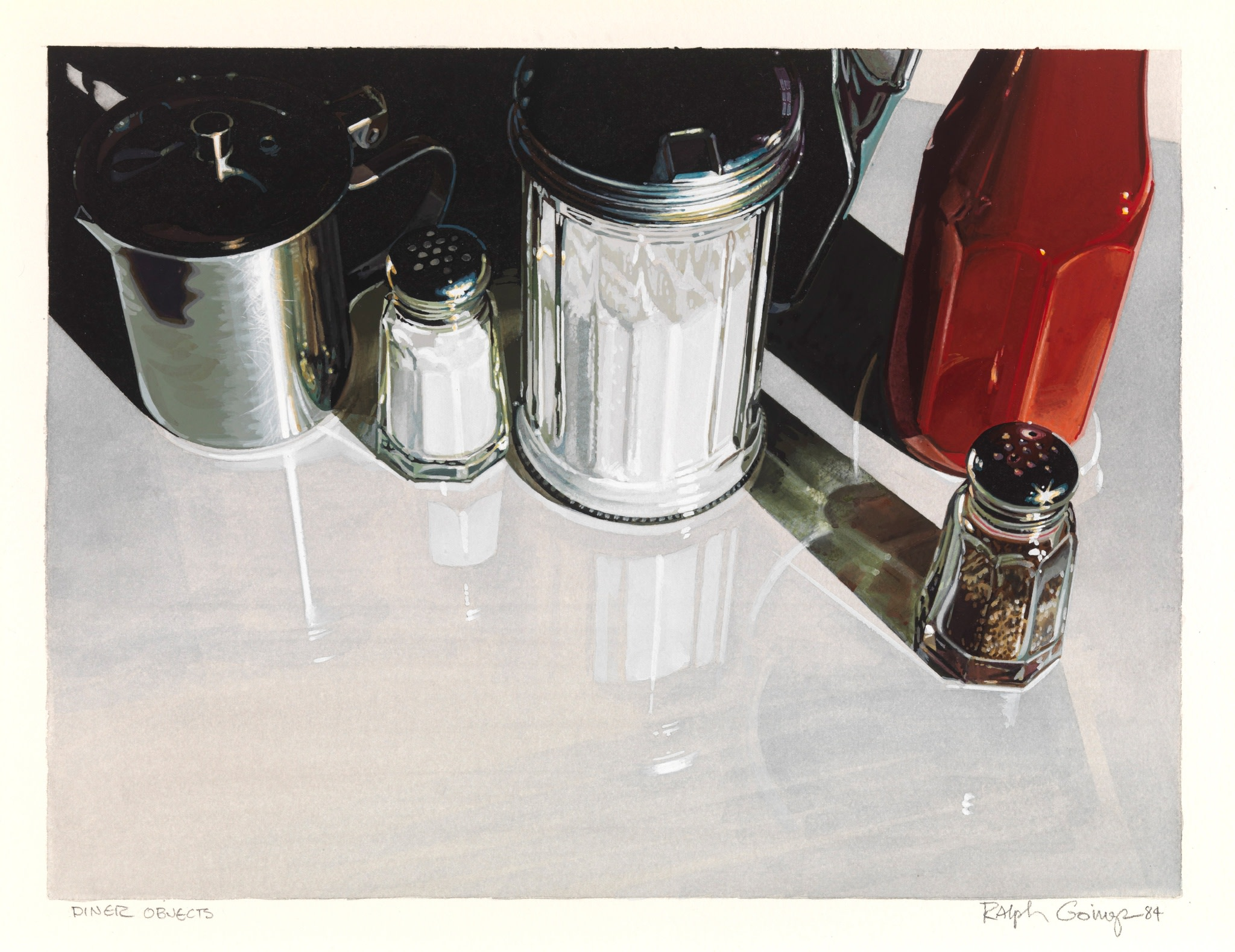 <span class=&#34;link fancybox-details-link&#34;><a href=&#34;/artists/113-ralph-goings/works/745/&#34;>View Detail Page</a></span><div class=&#34;artist&#34;><strong>Ralph Goings</strong></div> <div class=&#34;title&#34;><em>Diner Objects</em></div> <div class=&#34;medium&#34;>Gouache on paper</div> <div class=&#34;dimensions&#34;>9&#34; x 12&#34; or 22.8 x 30.5 cm </div>