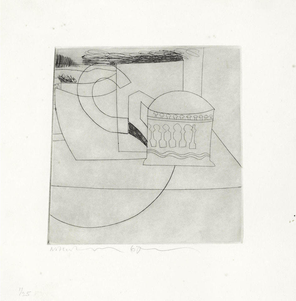 """<span class=""""link fancybox-details-link""""><a href=""""/artists/112-ben-nicholson-om/works/3996-ben-nicholson-om-small-still-life-1967/"""">View Detail Page</a></span><div class=""""artist""""><strong>Ben Nicholson OM</strong></div> 1894 – 1982 <div class=""""title""""><em>Small Still Life</em>, 1967</div> <div class=""""signed_and_dated"""">signed, dated and numbered 1/25 in pencil</div> <div class=""""medium"""">etching and drypoint printed with tone on wove paper, with wide margins</div> <div class=""""dimensions"""">plate: 20.4 x 21.7 cm (8 1/8 x 8 1/2 in.)<br /> sheet: 32 x 31.5 cm (12 5/8 x 12 3/8 in.)</div> <div class=""""edition_details"""">edition 1 of 25</div><div class=""""copyright_line"""">Copyright The Artist</div>"""
