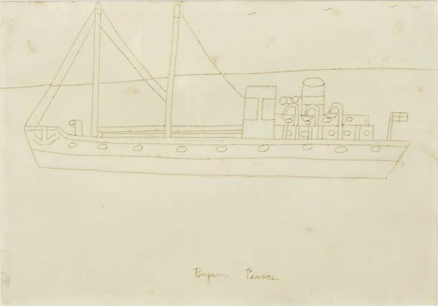 "<span class=""link fancybox-details-link""><a href=""/artists/85-bryan-pearce/works/2848-bryan-pearce-st-ives-steamer-c.-1960s/"">View Detail Page</a></span><div class=""artist""><strong>Bryan Pearce</strong></div> 1929–2007 <div class=""title""><em>St Ives Steamer</em>, c. 1960s</div> <div class=""signed_and_dated"">Signed in ink</div> <div class=""medium"">Pencil, pen and ink on paper</div> <div class=""dimensions"">25.4 x 35.6 cm<br />10 x 14 inches</div>"