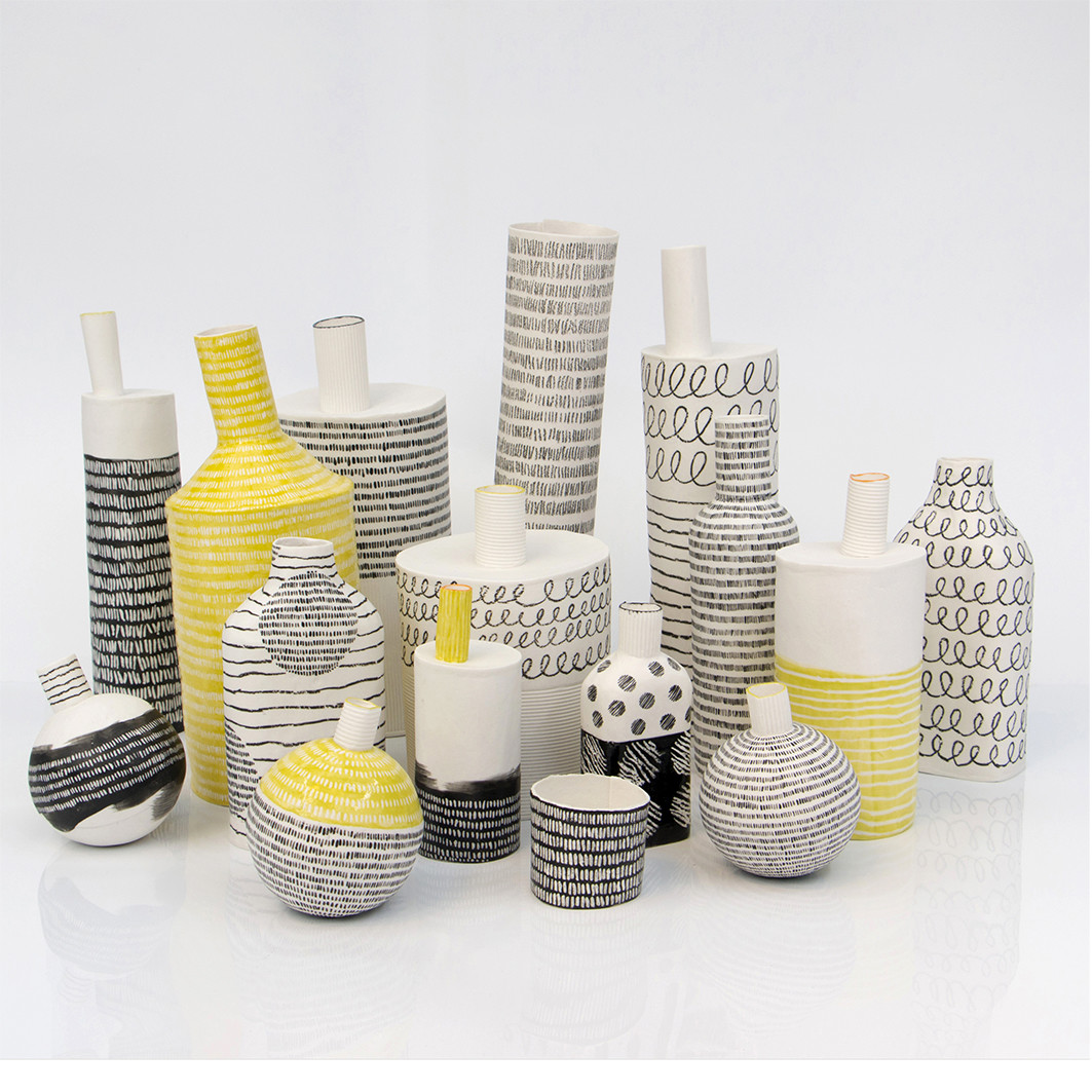 "<span class=""link fancybox-details-link""><a href=""/artists/226-jane-muende/works/6346-jane-muende-bottle-and-vessel-forms-2019/"">View Detail Page</a></span><div class=""artist""><strong>Jane Muende</strong></div> <div class=""title""><em>'Bottle' and 'Vessel' Forms</em>, 2019</div> <div class=""medium"">hand-built paper porcelain decorated with underglazes and wax crayon</div> <div class=""dimensions"">h 5 cm to h 30 cm</div><div class=""copyright_line"">Copyright The Artist</div>"