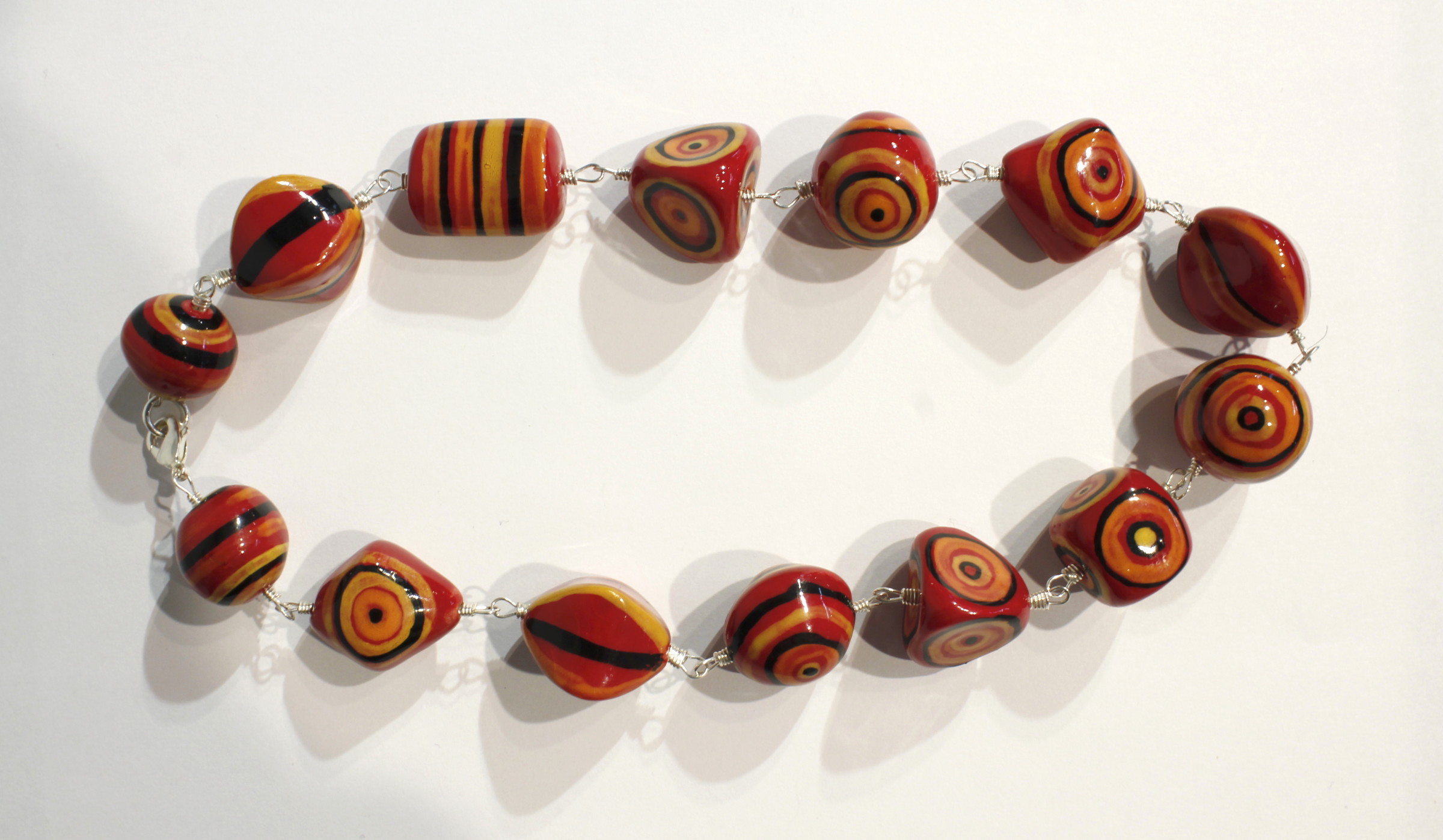 "<span class=""link fancybox-details-link""><a href=""/artists/146-elinor-lamond/works/4912-elinor-lamond-red-and-orange-striped-necklace-2017/"">View Detail Page</a></span><div class=""artist""><strong>Elinor Lamond</strong></div> <div class=""title""><em>Red and Orange Striped Necklace </em>, 2017</div> <div class=""medium"">handmade ceramic beads</div><div class=""copyright_line"">Copyright The Artist</div>"