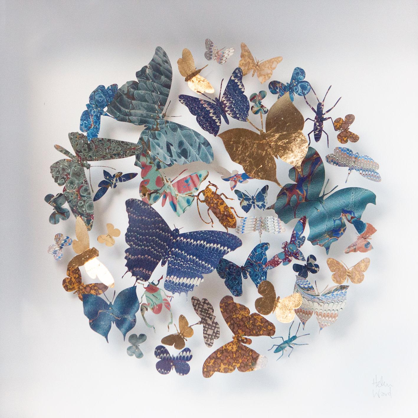 <span class=&#34;link fancybox-details-link&#34;><a href=&#34;/artists/142-helen-ward/works/6228-helen-ward-blue-flutter-2019/&#34;>View Detail Page</a></span><div class=&#34;artist&#34;><strong>Helen Ward</strong></div> <div class=&#34;title&#34;><em>Blue Flutter</em>, 2019</div> <div class=&#34;medium&#34;>Victorian entomology drawer, hand-marbled papers, enamel pins</div> <div class=&#34;dimensions&#34;>30 x 30 cm</div><div class=&#34;price&#34;>£480.00</div><div class=&#34;copyright_line&#34;>Own Art: £ 48 x 10 Monthly 0% APR Payments</div>