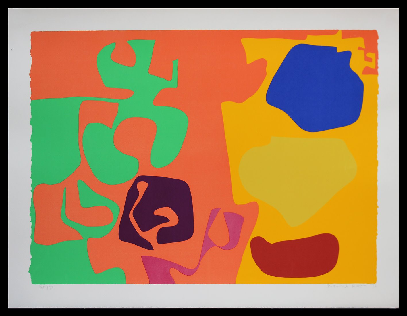 "<span class=""link fancybox-details-link""><a href=""/artists/93-patrick-heron-cbe/works/4478-patrick-heron-cbe-january-1973-10-1973/"">View Detail Page</a></span><div class=""artist""><strong>Patrick Heron CBE</strong></div> 1920 – 99 <div class=""title""><em>January 1973 : 10</em>, 1973</div> <div class=""signed_and_dated"">signed, dated and numbered in pencil</div> <div class=""medium"">silkscreen print in colours on wove paper, with full margins</div> <div class=""dimensions"">Image size: 23 1/8 x 32 1/8 in<br /> Sheet size: 27 3/8 x 36 1/8 in</div> <div class=""edition_details"">Edition 55 of 72</div><div class=""copyright_line"">© The Estate of Patrick Heron</div>"