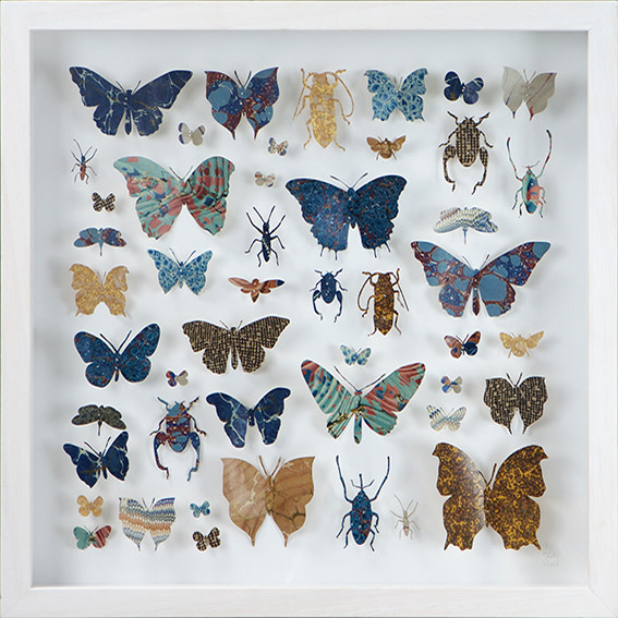 "<span class=""link fancybox-details-link""><a href=""/artists/142-helen-ward/works/3633-helen-ward-lepidoptera-5-2016/"">View Detail Page</a></span><div class=""artist""><strong>Helen Ward</strong></div> <div class=""title""><em>Lepidoptera 5</em>, 2016</div> <div class=""medium"">hand-cut Victorian hand-marbled paper, entomolgy pins</div> <div class=""dimensions"">h 43 x w 43 cm</div><div class=""copyright_line"">Own Art: £ 58 x 10 Monthly 0% APR Representative Payments</div>"