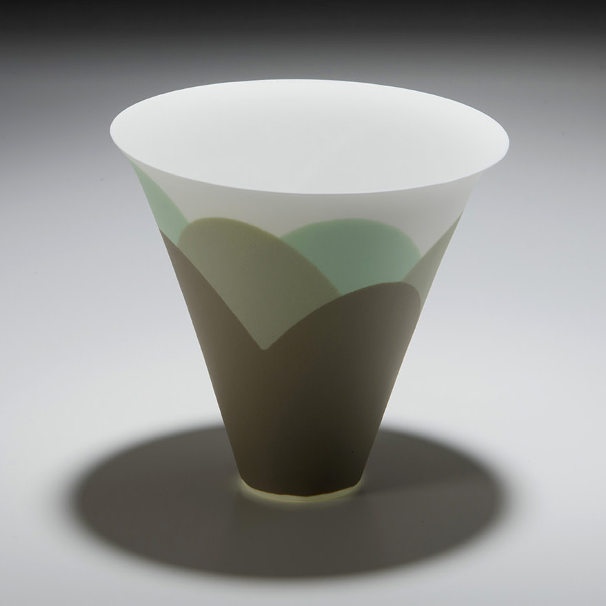 """<span class=""""link fancybox-details-link""""><a href=""""/artists/60-sasha-wardell/works/7497-sasha-wardell-tide-large-flared-vase-2021/"""">View Detail Page</a></span><div class=""""artist""""><strong>Sasha Wardell</strong></div> b. 1956 <div class=""""title""""><em>'Tide' Large Flared Vase</em>, 2021</div> <div class=""""signed_and_dated"""">inscribed with the artist's initials to the base</div> <div class=""""medium"""">sepia//grey/white/green layered and sliced bone china (glazed)</div> <div class=""""dimensions"""">h. 16 cm x dia. 17 cm</div><div class=""""price"""">£265.00</div><div class=""""copyright_line"""">Own Art: £26.50 x 10 months, 0% APR</div>"""