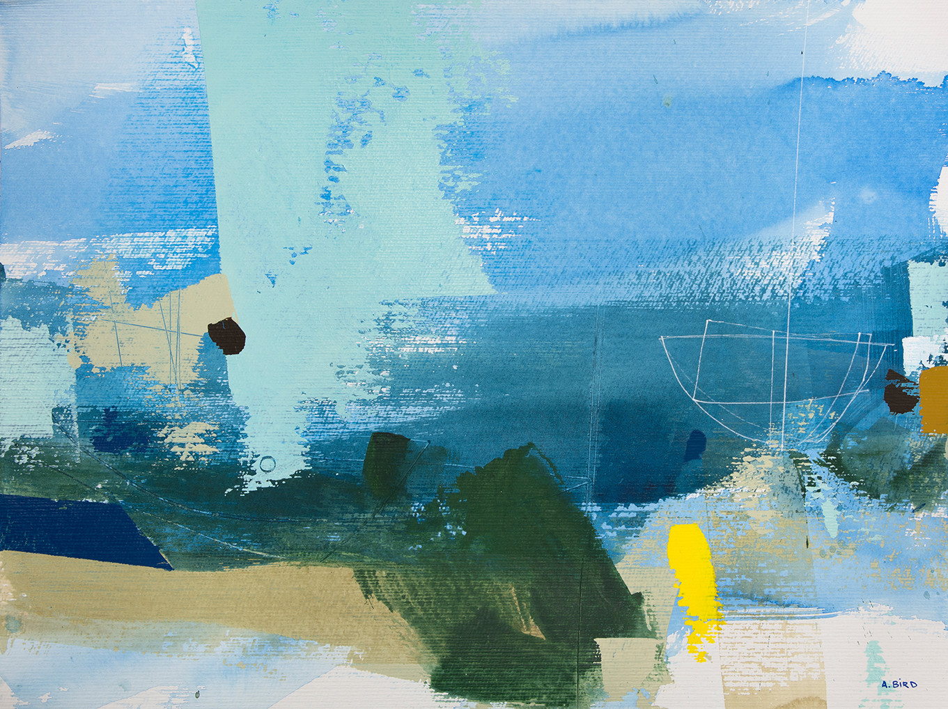 <span class=&#34;link fancybox-details-link&#34;><a href=&#34;/artists/77-andrew-bird/works/5244-andrew-bird-dune-walk-2017-18/&#34;>View Detail Page</a></span><div class=&#34;artist&#34;><strong>Andrew Bird</strong></div> 1969 – <div class=&#34;title&#34;><em>Dune Walk</em>, 2017/18</div> <div class=&#34;signed_and_dated&#34;>signed</div> <div class=&#34;medium&#34;>acrylic on paper</div> <div class=&#34;dimensions&#34;>h 36 x w 48 cm<br /> 14 1/8 x 18 7/8 in</div><div class=&#34;copyright_line&#34;>OwnArt: £ 69.50 x 10 Months, 0% APR</div>