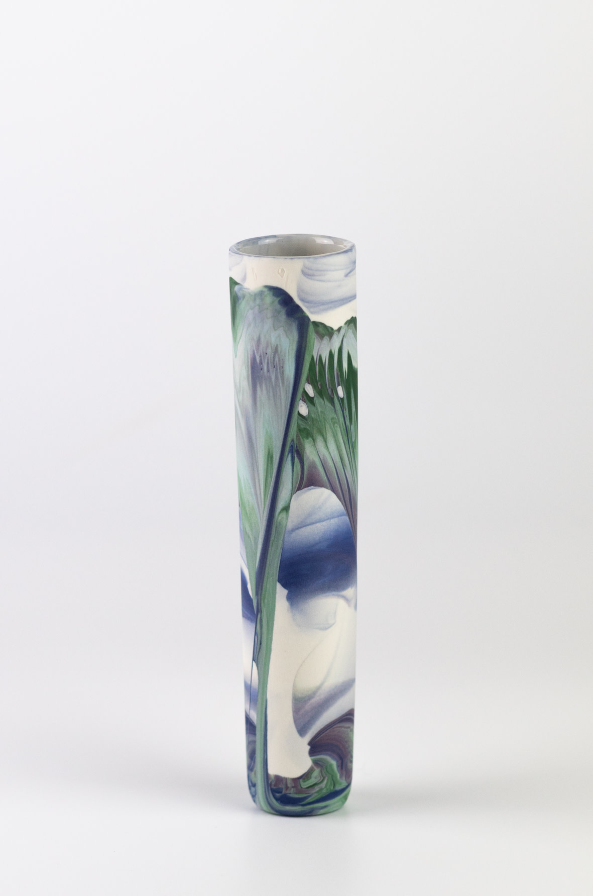"<span class=""link fancybox-details-link""><a href=""/artists/219-james-pegg/works/6580-james-pegg-boubouki-budvase-2019/"">View Detail Page</a></span><div class=""artist""><strong>James Pegg</strong></div> <div class=""title""><em>Boubouki Budvase</em>, 2019</div> <div class=""medium"">action-cast stained porcelain with glazed interior</div><div class=""price"">£42.00</div><div class=""copyright_line"">OwnArt: £ 4.20 x 10 months, 0% APR</div>"
