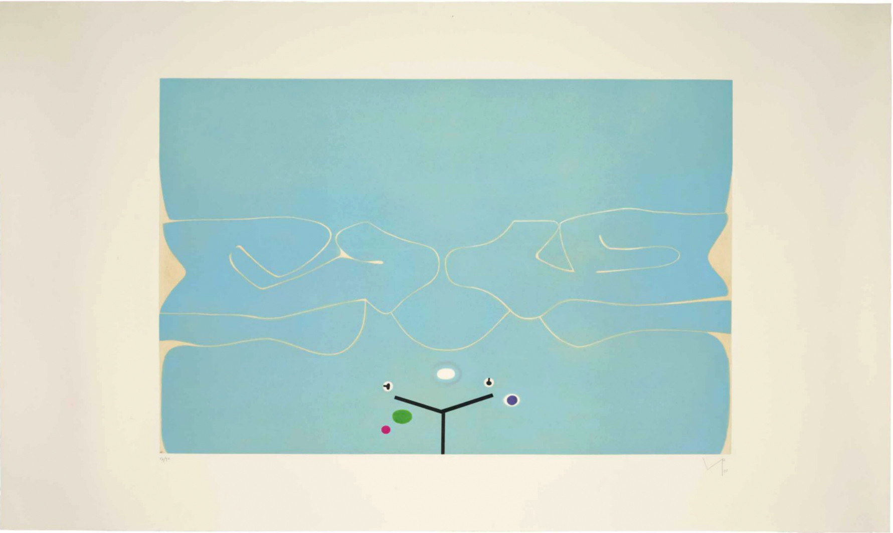"<span class=""link fancybox-details-link""><a href=""/artists/84-victor-pasmore-ch-cbe/works/3804-victor-pasmore-ch-cbe-soft-is-the-sound-of-the-ocean-1986/"">View Detail Page</a></span><div class=""artist""><strong>Victor Pasmore CH CBE</strong></div> 1908–1998 <div class=""title""><em>Soft is the Sound of the Ocean</em>, 1986</div> <div class=""signed_and_dated"">signed and dated in pencil</div> <div class=""medium"">etching and aquatint in colours, on Fabriano wove paper</div> <div class=""dimensions"">plate size: 72 x 108 cm<br /> sheet size: 100 x 167 cm</div> <div class=""edition_details"">63/90 aside from 15 Artist's Proofs</div><div class=""copyright_line"">© The Estate of Victor Pasmore</div>"