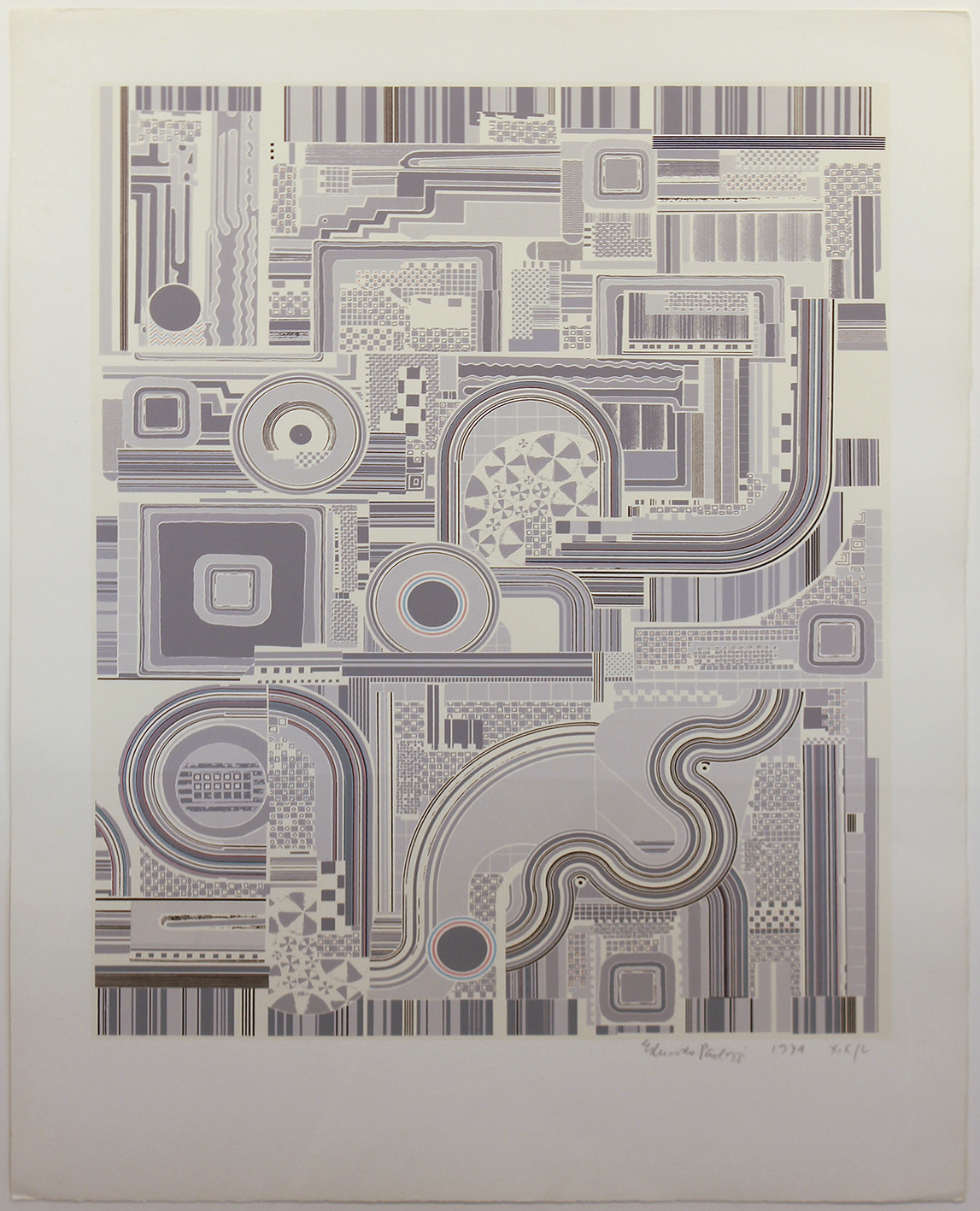 "<span class=""link fancybox-details-link""><a href=""/artists/180-eduardo-paolozzi-cbe-ra/works/4880-eduardo-paolozzi-cbe-ra-untitled-grey-1974/"">View Detail Page</a></span><div class=""artist""><strong>Eduardo Paolozzi CBE RA</strong></div> 1925-2005 <div class=""title""><em>Untitled Grey</em>, 1974</div> <div class=""signed_and_dated"">signed, dated and editioned in pencil</div> <div class=""medium"">screenprint printed in colours, on Firenze wove, signed, dated and numbered in pencil</div> <div class=""dimensions"">Image size: 64 x 49 cm<br /> 25 1/4 x 19 1/4 in</div> <div class=""edition_details"">Proof number XIX / L aside from the edition of 100</div><div class=""copyright_line"">© The Estate of Eduardo Paolozzi</div>"
