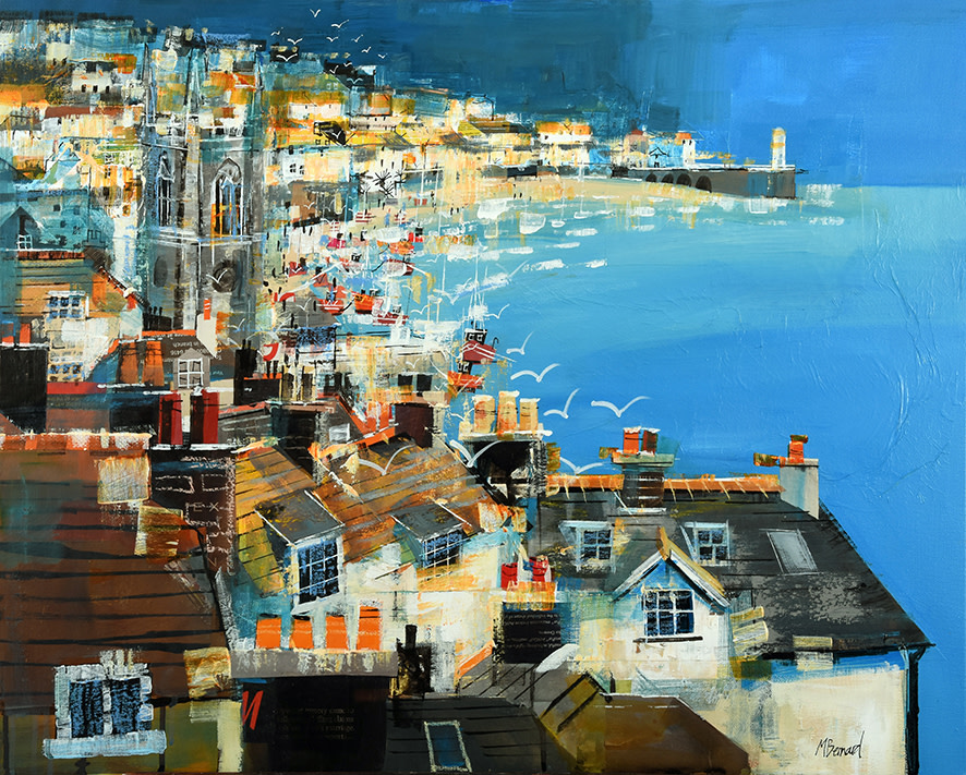"<span class=""link fancybox-details-link""><a href=""/artists/155-mike-bernard-ri/works/3900-mike-bernard-ri-st-ives-bay-2017/"">View Detail Page</a></span><div class=""artist""><strong>Mike Bernard RI</strong></div> 1957 <div class=""title""><em>St Ives Bay</em>, 2017</div> <div class=""signed_and_dated"">mixed media and acrylic on canvas</div> <div class=""dimensions"">61 x 76 cm<br /> 24 1/8 x 29 7/8 inches</div><div class=""copyright_line"">OwnArt: 350 x 10 Months, 0% APR</div>"