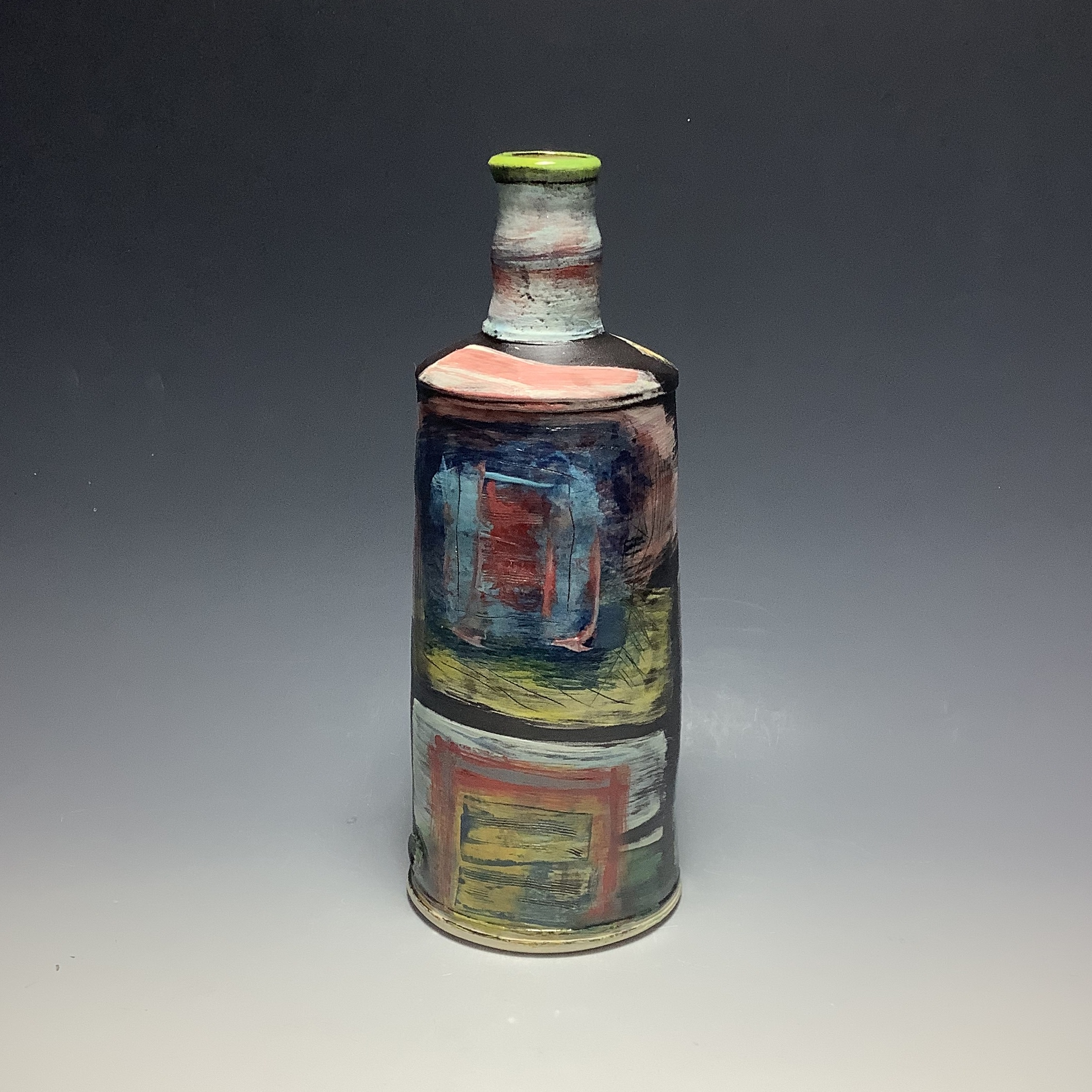 "<span class=""link fancybox-details-link""><a href=""/artists/100-john-pollex/works/6836-john-pollex-tall-bottle-2020/"">View Detail Page</a></span><div class=""artist""><strong>John Pollex</strong></div> b. 1941 <div class=""title""><em>Tall Bottle</em>, 2020</div> <div class=""signed_and_dated"">impressed with the artist's seal mark 'JP'</div> <div class=""medium"">white earthenware decorated with coloured slips</div> <div class=""dimensions"">h. 11 in</div><div class=""price"">£308.00</div><div class=""copyright_line"">Ownart: £30.80 x 10 Months, 0% APR</div>"