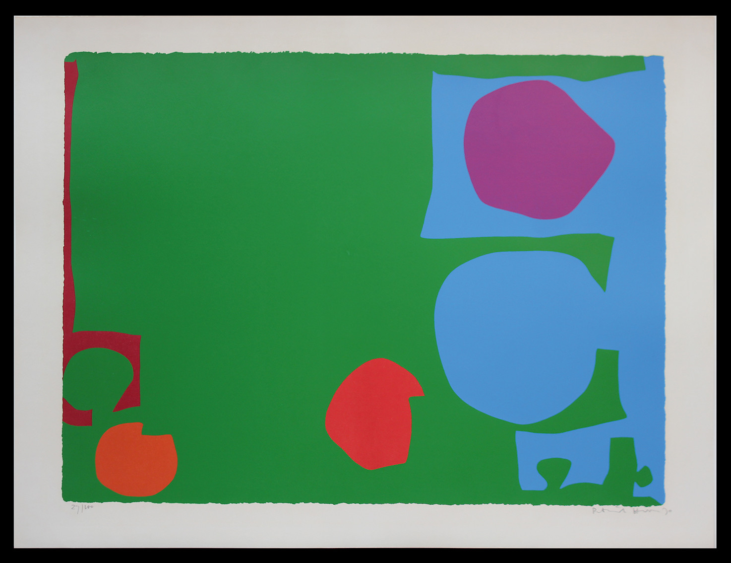 "<span class=""link fancybox-details-link""><a href=""/artists/93-patrick-heron-cbe/works/3807-patrick-heron-cbe-three-reds-in-green-and-magenta-in-blue-1970/"">View Detail Page</a></span><div class=""artist""><strong>Patrick Heron CBE</strong></div> 1920 – 1999 <div class=""title""><em>Three Reds in Green and Magenta in Blue: April 1970</em>, 1970</div> <div class=""signed_and_dated"">signed and dated in pencil</div> <div class=""medium"">silkscreen print in colours on wove paper, with full margins</div> <div class=""dimensions"">image size: 59.7 x 78.4 <br /> sheet: 70 x 91 cm (27 1/2 x 35 7/8 in.)</div> <div class=""edition_details"">Edition 27 of 100</div><div class=""copyright_line"">© The Estate of Patrick Heron</div>"