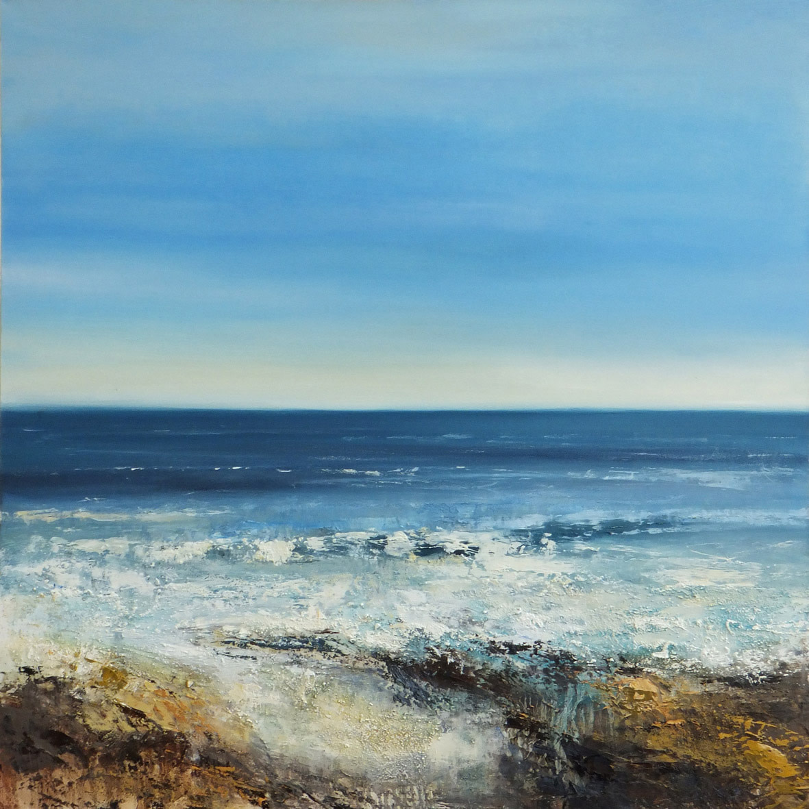<span class=&#34;link fancybox-details-link&#34;><a href=&#34;/artists/66-joanne-last/works/5547-joanne-last-shimmering-surf-2018/&#34;>View Detail Page</a></span><div class=&#34;artist&#34;><strong>Joanne Last</strong></div> <div class=&#34;title&#34;><em>Shimmering Surf</em>, 2018</div> <div class=&#34;signed_and_dated&#34;>signed by the artist</div> <div class=&#34;medium&#34;>oil on canvas</div> <div class=&#34;dimensions&#34;>100 x 100 cm<br /> 39 3/8 x 39 3/8 inches</div><div class=&#34;copyright_line&#34;>£ 220 x 10 Months, OwnArt 0% APR</div>