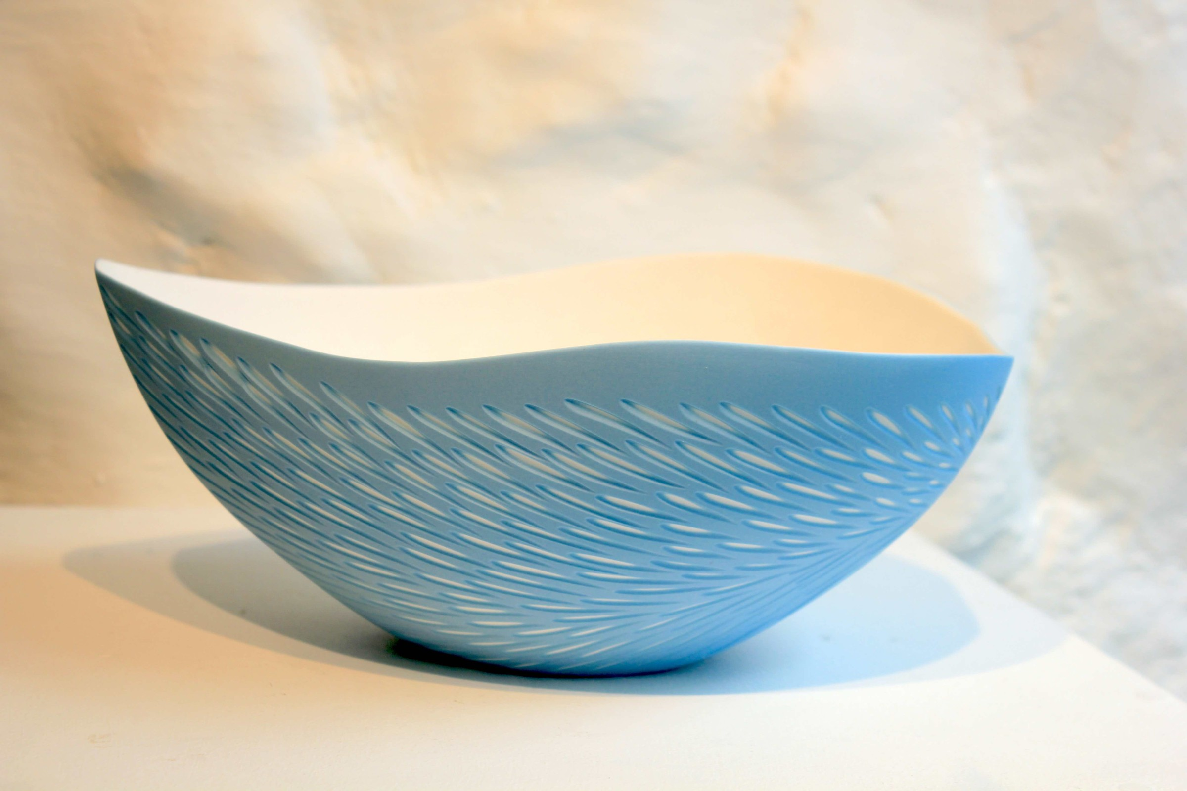 "<span class=""link fancybox-details-link""><a href=""/artists/60-sasha-wardell/works/5499-sasha-wardell-shoal-bowl-2018/"">View Detail Page</a></span><div class=""artist""><strong>Sasha Wardell</strong></div> <div class=""title""><em>Shoal Bowl</em>, 2018</div> <div class=""signed_and_dated"">inscribed with artist initials on base</div> <div class=""medium""> layered & sliced bone china</div> <div class=""dimensions"">11 x 26 cm<br /> 4 3/8 x 10 1/4 inches</div><div class=""copyright_line"">OwnArt: £ 29 x 10 Months, 0% APR</div>"