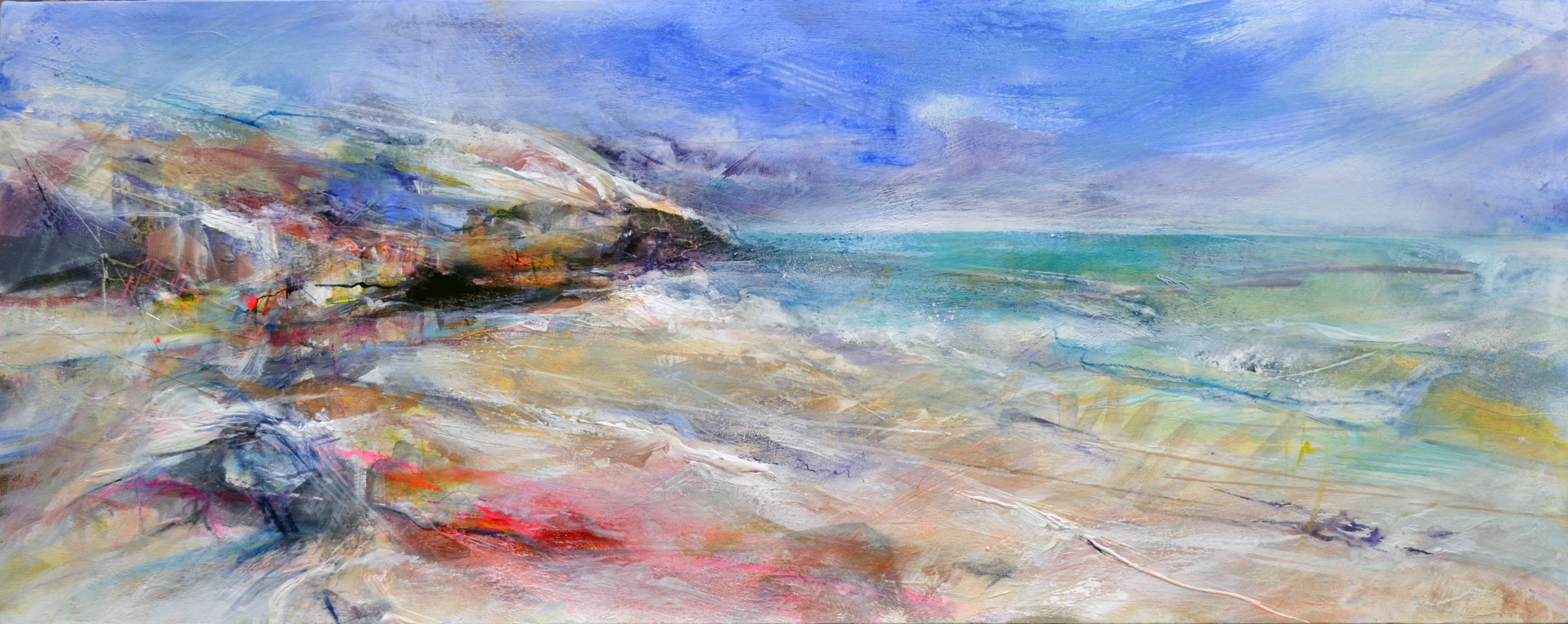 """<span class=""""link fancybox-details-link""""><a href=""""/artists/90-freya-horsley/works/4166-freya-horsley-staying-out-2017/"""">View Detail Page</a></span><div class=""""artist""""><strong>Freya Horsley</strong></div> <div class=""""title""""><em>Staying Out</em>, 2017</div> <div class=""""signed_and_dated"""">signed on reverse</div> <div class=""""medium"""">mixed media on canvas</div> <div class=""""dimensions"""">40 x 100 cm<br /> 15 3/4 x 39 3/8 inches</div><div class=""""copyright_line"""">OwnArt: £ 88 x 10 Months, 0% APR</div>"""