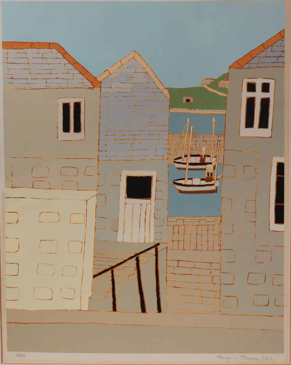 "<span class=""link fancybox-details-link""><a href=""/artists/85-bryan-pearce/works/5611-bryan-pearce-bethesda-st-ives-1970/"">View Detail Page</a></span><div class=""artist""><strong>Bryan Pearce</strong></div> 1929-2007 <div class=""title""><em>Bethesda, St Ives</em>, 1970</div> <div class=""signed_and_dated"">signed and dated in pencil</div> <div class=""medium"">screenprint<br /> Edition 27/90</div> <div class=""dimensions"">44 x 35 cm unframed<br /> 17 3/8 x 13 3/4 inches <br /> <br /> 60 x 52 cm framed<br /> 23 5/8 x 20 1/2 inches</div><div class=""copyright_line"">Copyright The Artist</div>"