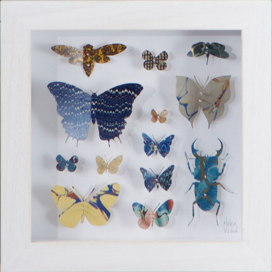 "<span class=""link fancybox-details-link""><a href=""/artists/142-helen-ward/works/3637-helen-ward-lepidoptera-9-2016/"">View Detail Page</a></span><div class=""artist""><strong>Helen Ward</strong></div> <div class=""title""><em>Lepidoptera 9</em>, 2016</div> <div class=""medium"">hand-cut Victorian hand-marbled paper, entomolgy pins</div> <div class=""dimensions"">h 16 x w 16 cm</div><div class=""copyright_line"">Own Art: £ 21 x 10 Monthly 0% APR Representative Payments</div>"