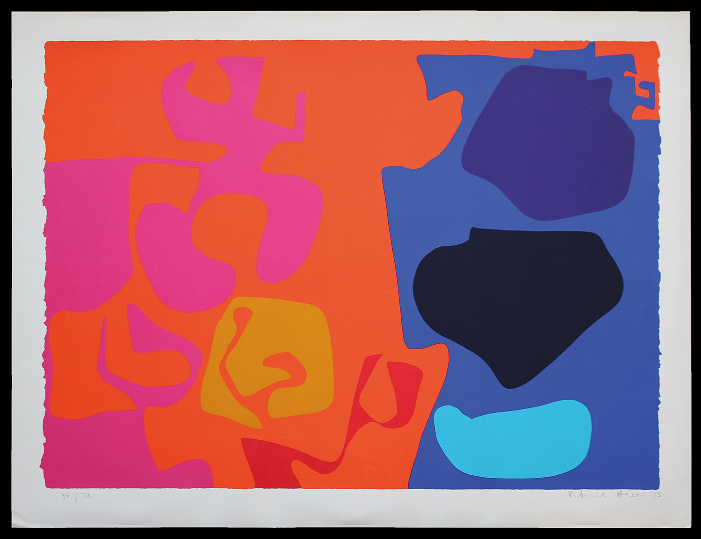 "<span class=""link fancybox-details-link""><a href=""/artists/93-patrick-heron-cbe/works/4931-patrick-heron-cbe-january-1973-8-1973/"">View Detail Page</a></span><div class=""artist""><strong>Patrick Heron CBE</strong></div> 1920 – 99 <div class=""title""><em>January 1973 : 8</em>, 1973</div> <div class=""signed_and_dated"">signed, dated and numbered in pencil</div> <div class=""medium"">silkscreen print in colours on wove paper, with full margins</div> <div class=""dimensions"">Image size: 22 7/8 x 28 inches<br /> Sheet size: 27 1/2 x 36 in</div> <div class=""edition_details"">Edition 46 of 72</div><div class=""copyright_line"">© The Estate of Patrick Heron</div>"