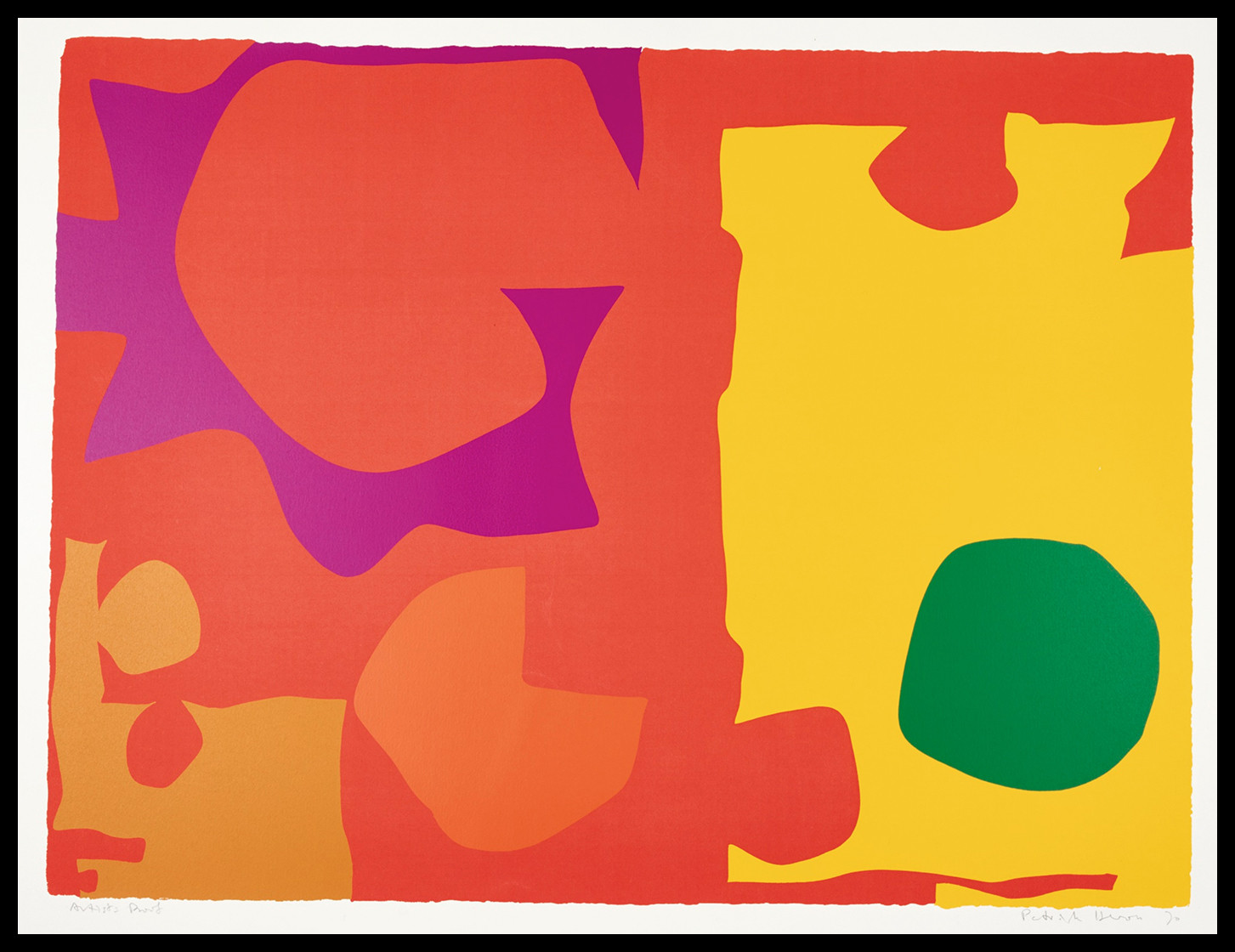 "<span class=""link fancybox-details-link""><a href=""/artists/93-patrick-heron-cbe/works/4014-patrick-heron-cbe-six-in-vermilion-with-green-in-yellow-1970/"">View Detail Page</a></span><div class=""artist""><strong>Patrick Heron CBE</strong></div> 1920 – 1999 <div class=""title""><em>Six in Vermilion with Green in Yellow</em>, 1970</div> <div class=""signed_and_dated"">signed in pencil, dated, inscribed Artist's Proof</div> <div class=""medium"">silkscreen print in colours on wove paper, with full margins</div> <div class=""dimensions"">image: 58.5 x 78 cm (23 x 30 3/4 in.)<br /> sheet: 71.6 x 101.5 cm (28 1/4 x 40in.)</div> <div class=""edition_details"">Artist's Proof aside from edition of 100</div><div class=""copyright_line"">© The Estate of Patrick Heron</div>"