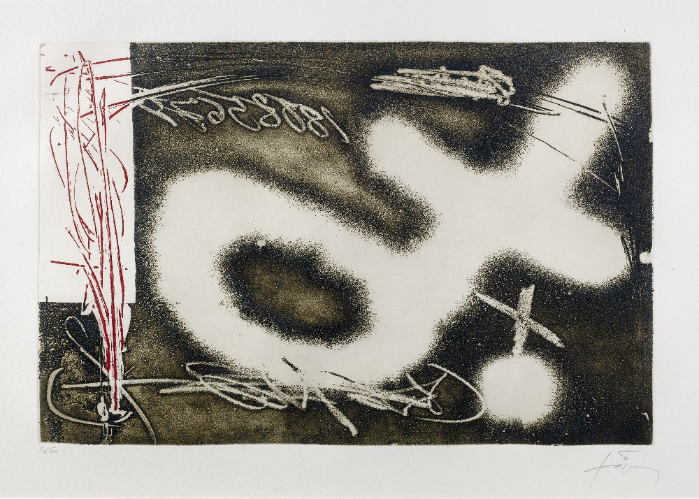 "<span class=""link fancybox-details-link""><a href=""/artists/153-antoni-tapies/works/3400-antoni-tapies-untitled-from-el-pendulo-inmovil-1982/"">View Detail Page</a></span><div class=""artist""><strong>Antoni Tapies</strong></div> 1923–2012 <div class=""title""><em>Untitled from El Pendulo Inmovil</em>, 1982</div> <div class=""signed_and_dated"">signed and editioned 'V/XXX' in pencil (to the margin)</div> <div class=""medium"">etching and aquatint with resins printed in colours on Auvergne Richard de Bas Paper</div> <div class=""dimensions"">plate size: 30 x 40 cm<br /> sheet size: 51 x 66 cm</div> <div class=""edition_details"">edition of 75</div><div class=""copyright_line"">@ The Estate of Antoni Tapies</div>"
