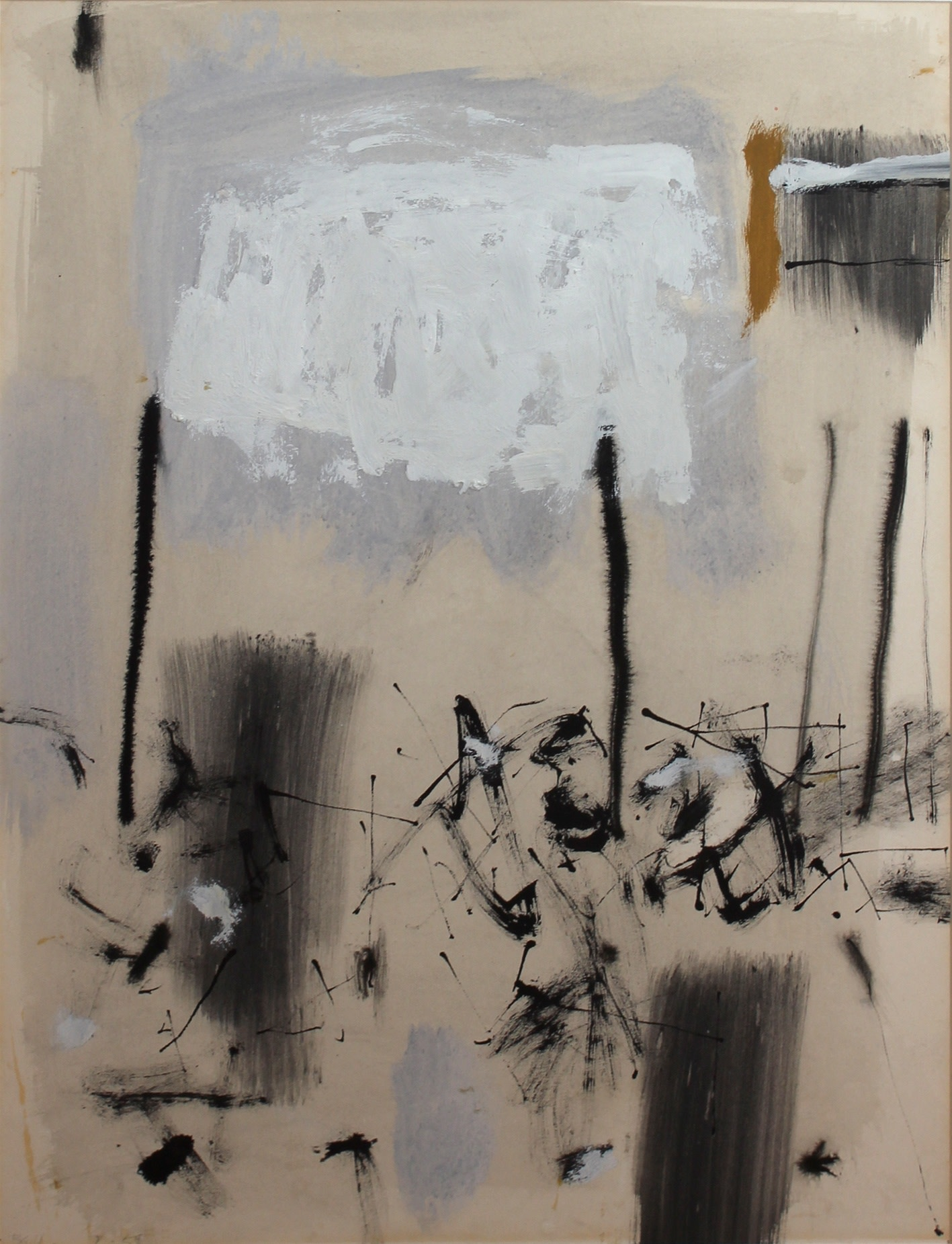 """<span class=""""link fancybox-details-link""""><a href=""""/artists/82-trevor-bell-ra/works/295-trevor-bell-ra-untitled-abstract-1959/"""">View Detail Page</a></span><div class=""""artist""""><strong>Trevor Bell RA</strong></div> 1930– <div class=""""title""""><em>Untitled Abstract</em>, 1959</div> <div class=""""signed_and_dated"""">Trevor Bell</div> <div class=""""medium"""">pencil, charcoal, ink and gouache on paper</div> <div class=""""dimensions"""">44 x 34 cm</div><div class=""""copyright_line"""">© The Artist</div>"""