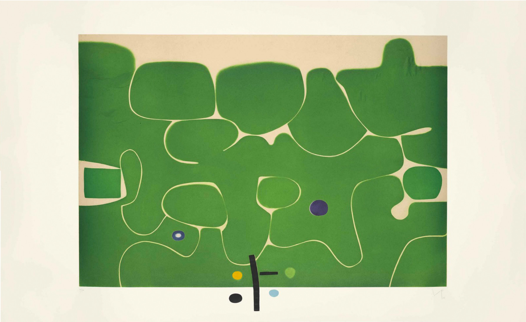 "<span class=""link fancybox-details-link""><a href=""/artists/84-victor-pasmore-ch-cbe/works/3803-victor-pasmore-ch-cbe-il-labirinto-della-psiche-1986/"">View Detail Page</a></span><div class=""artist""><strong>Victor Pasmore CH CBE</strong></div> 1908–1998 <div class=""title""><em>Il Labirinto della Psiche</em>, 1986</div> <div class=""signed_and_dated"">initialled and dated in pencil</div> <div class=""medium"">etching and aquatint printed in colours, on Fabriano paper</div> <div class=""dimensions"">plate size: 76 x 111 cm<br /> sheet size: 98.5 X 159.7 cm</div> <div class=""edition_details"">7/90, aside from 15 Artist's Proofs</div><div class=""copyright_line"">© The Estate of Victor Pasmore</div>"