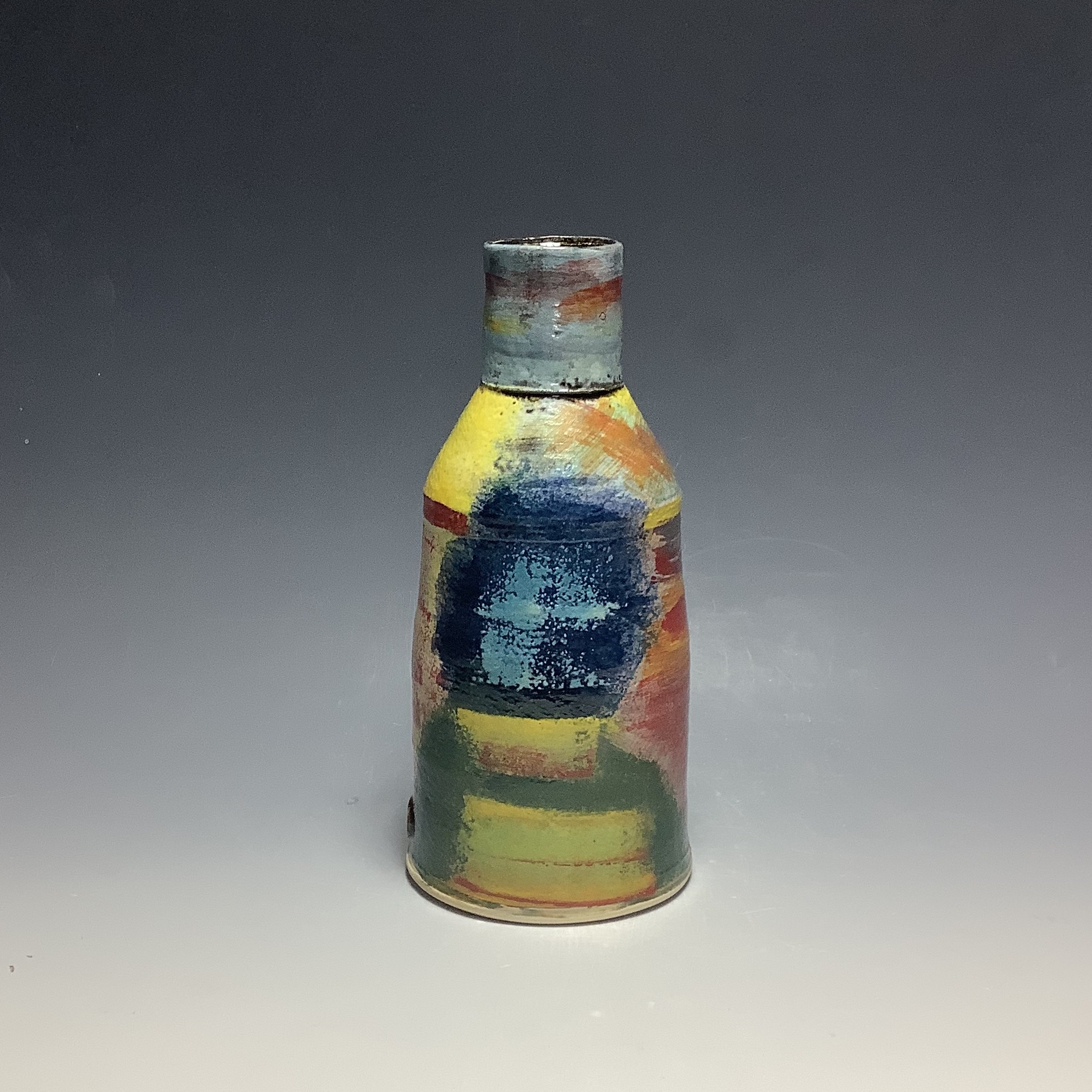 "<span class=""link fancybox-details-link""><a href=""/artists/100-john-pollex/works/6837-john-pollex-small-bottle-2020/"">View Detail Page</a></span><div class=""artist""><strong>John Pollex</strong></div> b. 1941 <div class=""title""><em>Small Bottle</em>, 2020</div> <div class=""signed_and_dated"">impressed with the artist's seal mark 'JP'</div> <div class=""medium"">white earthenware decorated with coloured slips</div> <div class=""dimensions"">h. 7.5 in</div><div class=""price"">£176.00</div><div class=""copyright_line"">Ownart: £176 x 10 Months, 0% APR</div>"