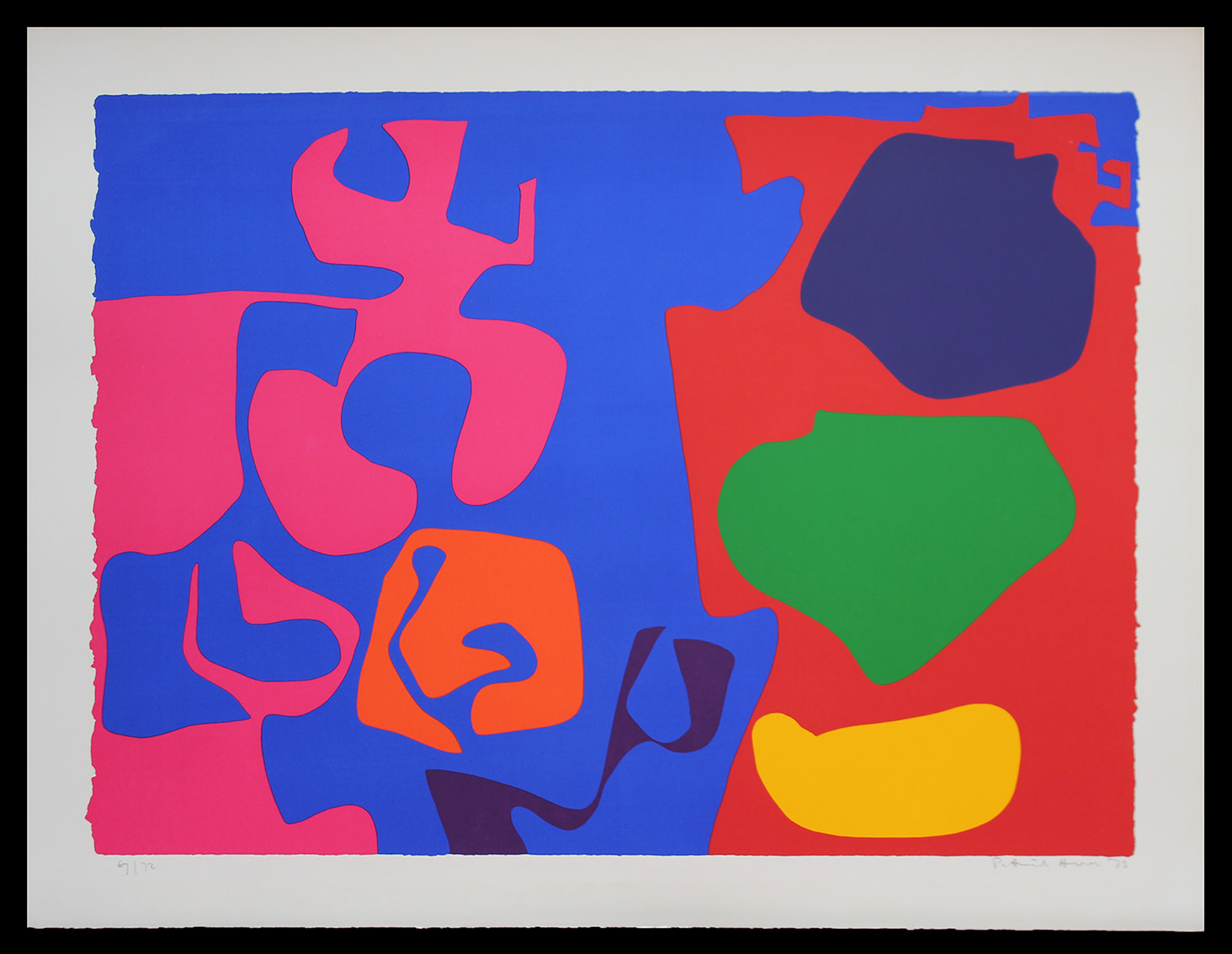"<span class=""link fancybox-details-link""><a href=""/artists/93-patrick-heron-cbe/works/4477-patrick-heron-cbe-january-1973-9-1973/"">View Detail Page</a></span><div class=""artist""><strong>Patrick Heron CBE</strong></div> 1920 – 1999 <div class=""title""><em>January 1973 : 9</em>, 1973</div> <div class=""signed_and_dated"">signed, dated and numbered in pencil</div> <div class=""medium"">silkscreen print in colours on wove paper, with full margins</div> <div class=""dimensions"">Image size: 58.5 x 80 cm<br /> 23 1/8 x 31 1/2 in<br /> sheet size: 69.5 x 91 cm<br /> 27 3/8 x 35 7/8 in</div> <div class=""edition_details"">Edition 67 of 72</div><div class=""copyright_line"">© The Estate of Patrick Heron</div>"