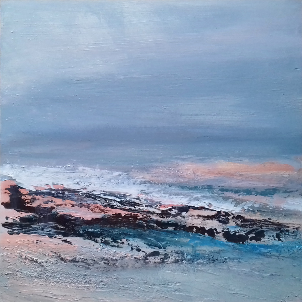 """<span class=""""link fancybox-details-link""""><a href=""""/artists/66-joanne-last/works/6359-joanne-last-sea-interlude-4-2019/"""">View Detail Page</a></span><div class=""""artist""""><strong>Joanne Last</strong></div> <div class=""""title""""><em>Sea Interlude 4</em>, 2019</div> <div class=""""signed_and_dated"""">Signed and dated on the reverse</div> <div class=""""medium"""">Acrylic on board</div> <div class=""""dimensions"""">40 x 40cm</div><div class=""""price"""">£450.00</div><div class=""""copyright_line"""">Own Art £45 x 10 months, 0% APR</div>"""