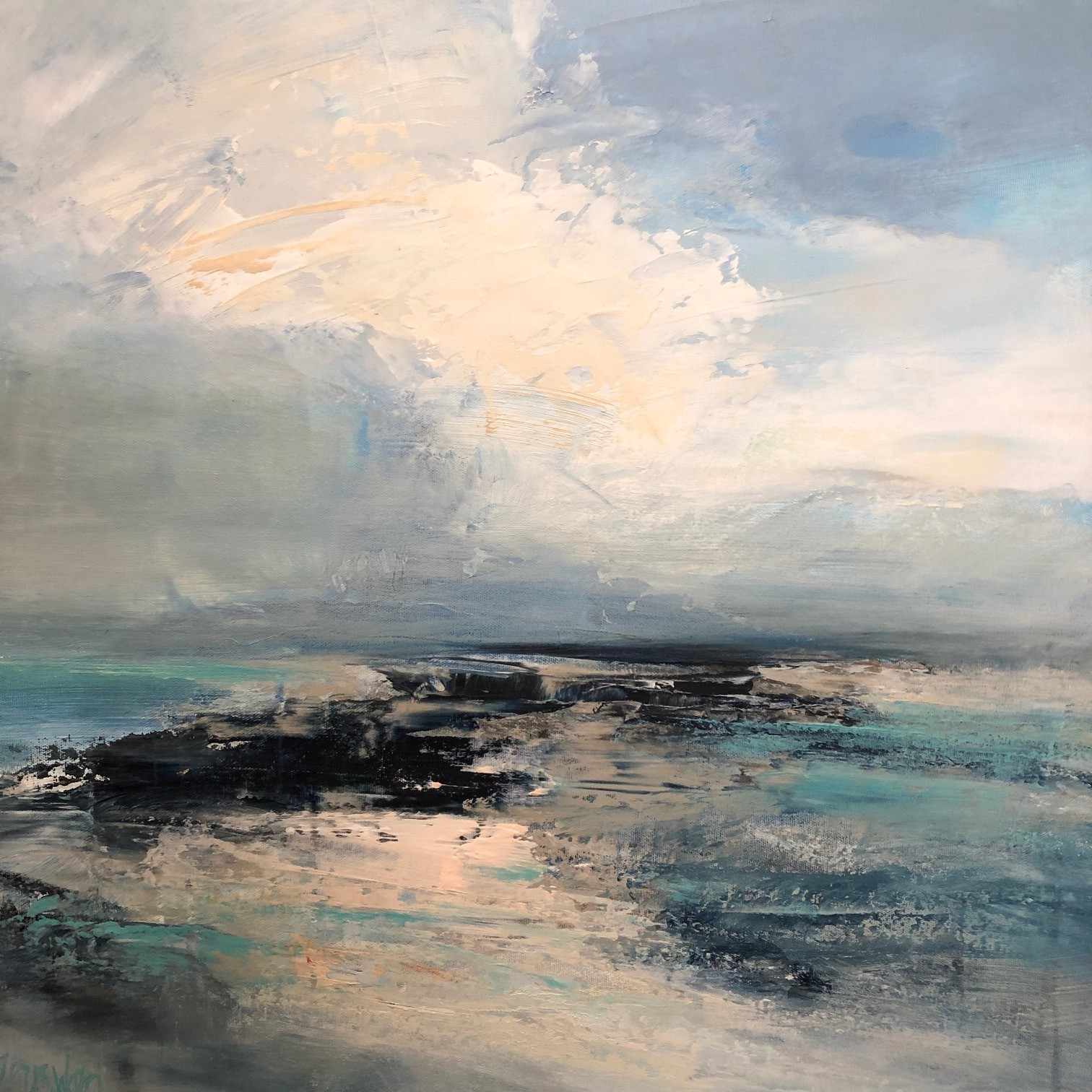 "<span class=""link fancybox-details-link""><a href=""/artists/41-erin-ward/works/6593-erin-ward-beach-late-afternoon-2019/"">View Detail Page</a></span><div class=""artist""><strong>Erin Ward</strong></div> <div class=""title""><em>Beach, Late Afternoon</em>, 2019</div> <div class=""medium"">Acrylic on canvas</div> <div class=""dimensions"">h. 61 cm x w. 61 cm </div><div class=""copyright_line"">Ownart: £119 x 10 Months, 0% APR</div>"