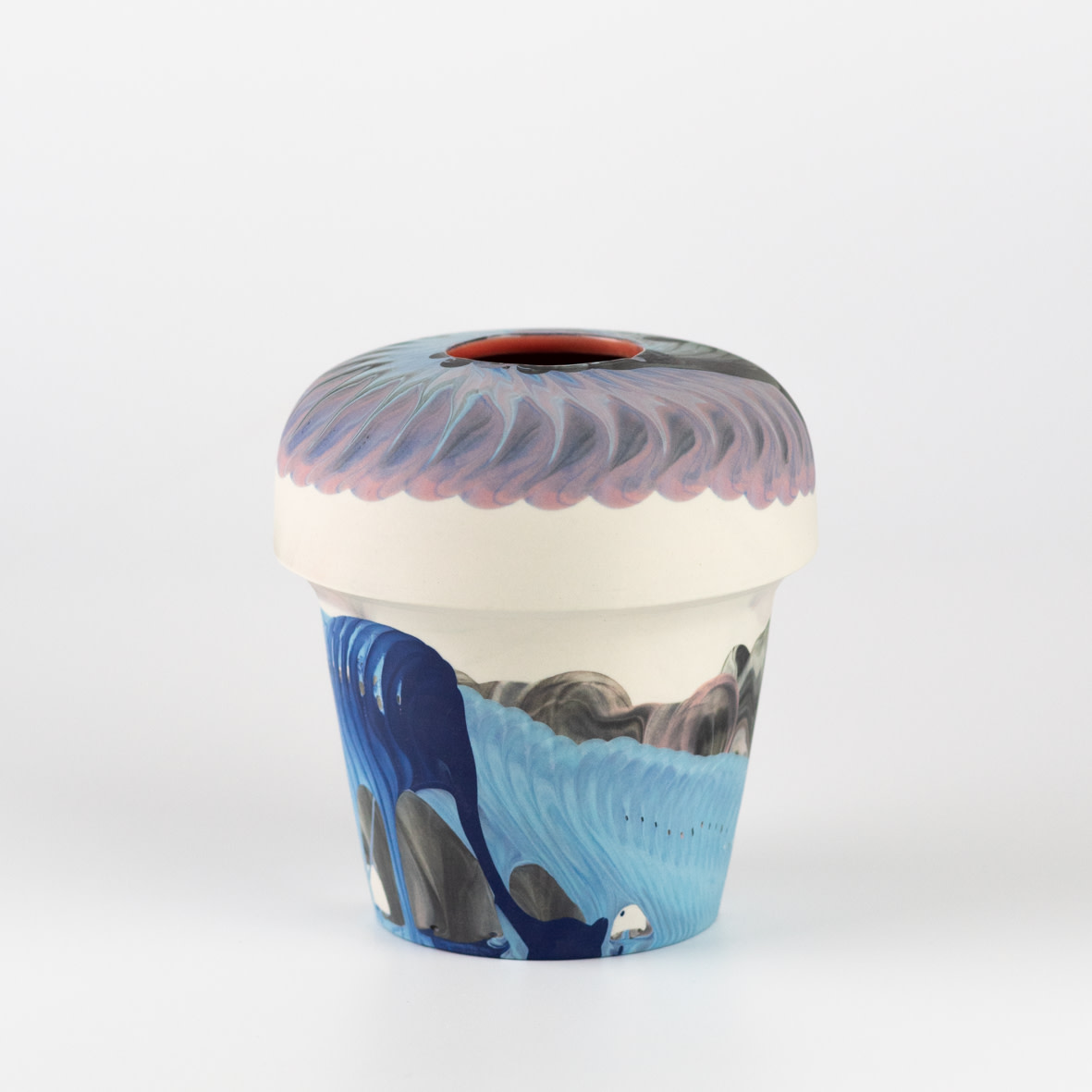 "<span class=""link fancybox-details-link""><a href=""/artists/219-james-pegg/works/6574-james-pegg-kontohondros-vase-2019/"">View Detail Page</a></span><div class=""artist""><strong>James Pegg</strong></div> <div class=""title""><em>Kontohondros Vase</em>, 2019</div> <div class=""medium"">action-cast stained porcelain with glazed interior</div><div class=""price"">£155.00</div><div class=""copyright_line"">OwnArt: £ 15.50 x 10 months, 0% APR</div>"