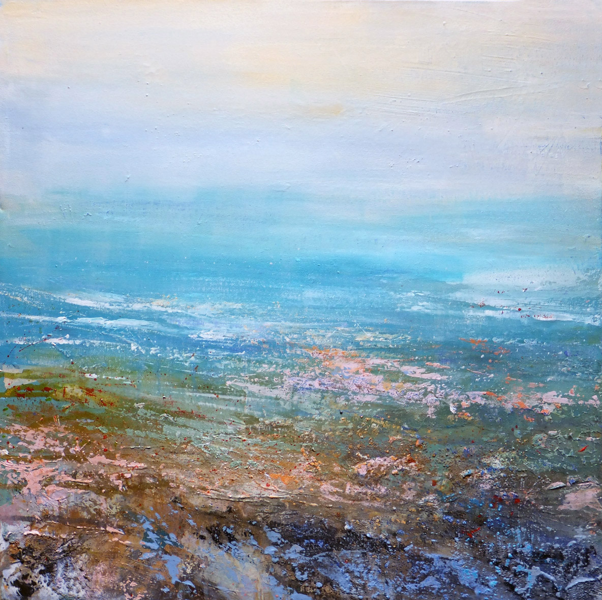 """<span class=""""link fancybox-details-link""""><a href=""""/artists/66-joanne-last/works/6358-joanne-last-remembering-rock-pools-2-2019/"""">View Detail Page</a></span><div class=""""artist""""><strong>Joanne Last</strong></div> <div class=""""title""""><em>Remembering Rock Pools 2</em>, 2019</div> <div class=""""signed_and_dated"""">Signed and dated on the reverse</div> <div class=""""medium"""">Mixed media on canvas</div> <div class=""""dimensions"""">60 x 60cm</div><div class=""""copyright_line"""">Own Art £90 x 10 months</div>"""