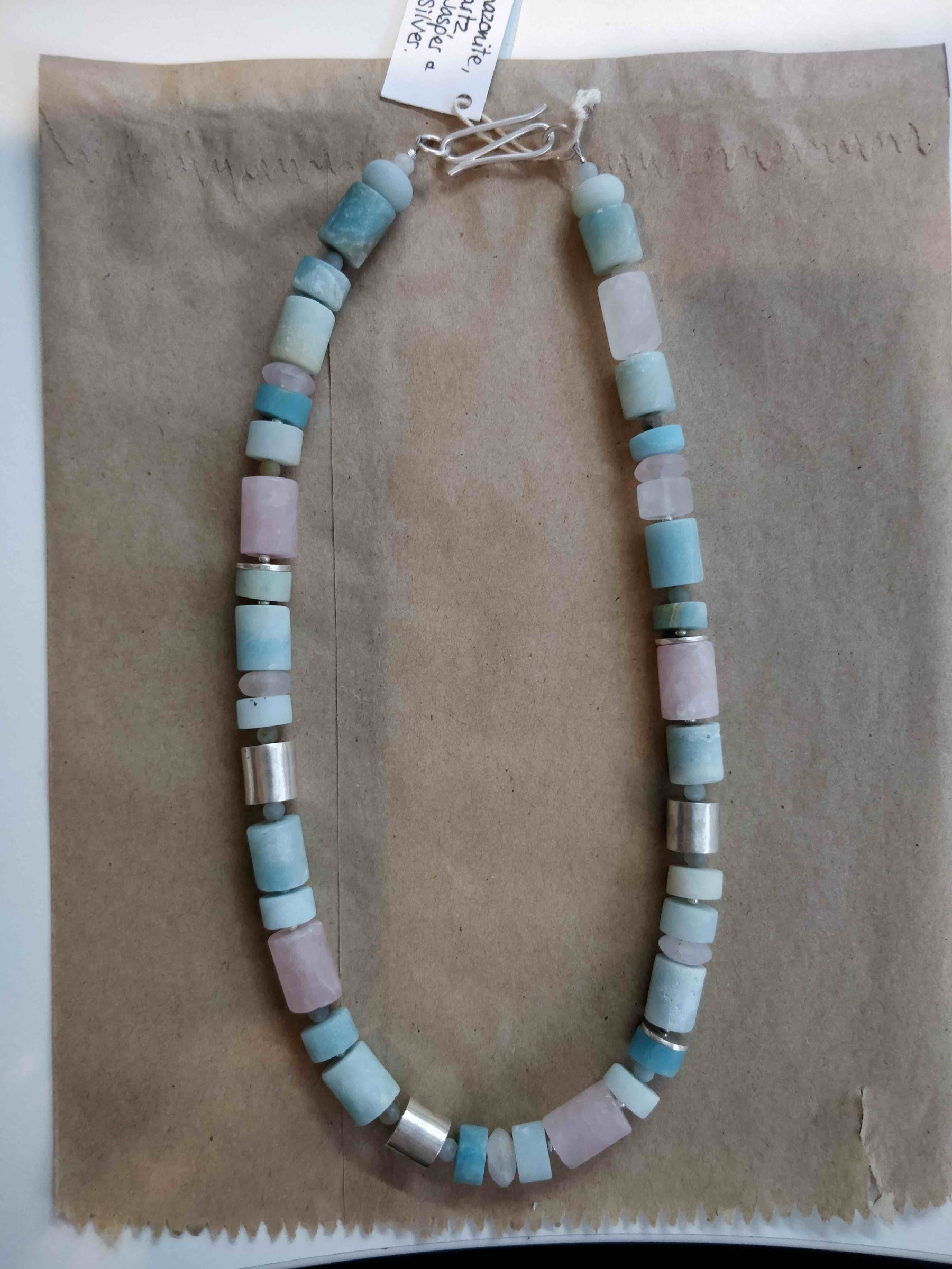 <span class=&#34;link fancybox-details-link&#34;><a href=&#34;/artists/148-roberta-hopkins/works/5701-roberta-hopkins-black-amazonite-rose-quartz-tubes-2018/&#34;>View Detail Page</a></span><div class=&#34;artist&#34;><strong>Roberta Hopkins</strong></div> <div class=&#34;title&#34;><em>Black Amazonite/Rose Quartz tubes</em>, 2018</div> <div class=&#34;medium&#34;>sterling silver</div><div class=&#34;price&#34;>£190.00</div><div class=&#34;copyright_line&#34;>£ 19 x 10 Months, OwnArt 0% APR</div>