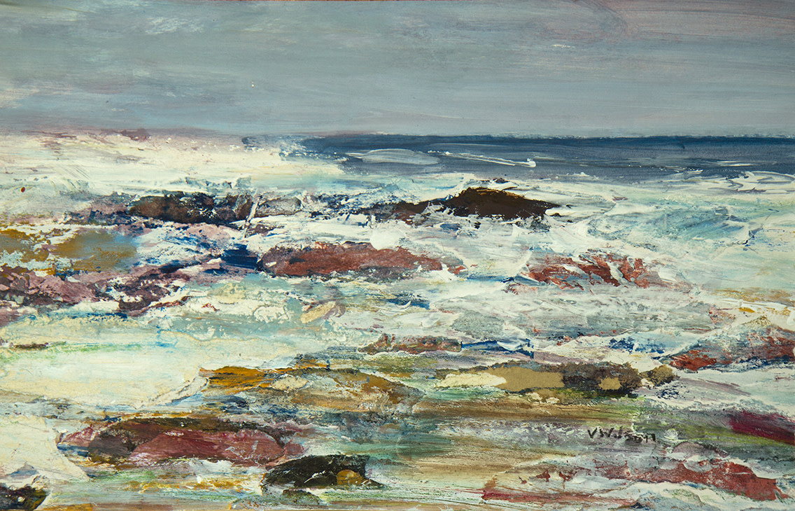 "<span class=""link fancybox-details-link""><a href=""/artists/62-vincent-wilson/works/4664-vincent-wilson-breezy-day-rough-sea-2014/"">View Detail Page</a></span><div class=""artist""><strong>Vincent Wilson</strong></div> <div class=""title""><em>Breezy Day, Rough Sea</em>, 2014</div> <div class=""signed_and_dated"">signed by the artist</div> <div class=""medium"">mixed media</div> <div class=""dimensions"">h. 21.5 x w. 35 cm <br /> <br /> Framed h. 42 x w. 53 cm </div><div class=""copyright_line"">Copyright The Artist</div>"