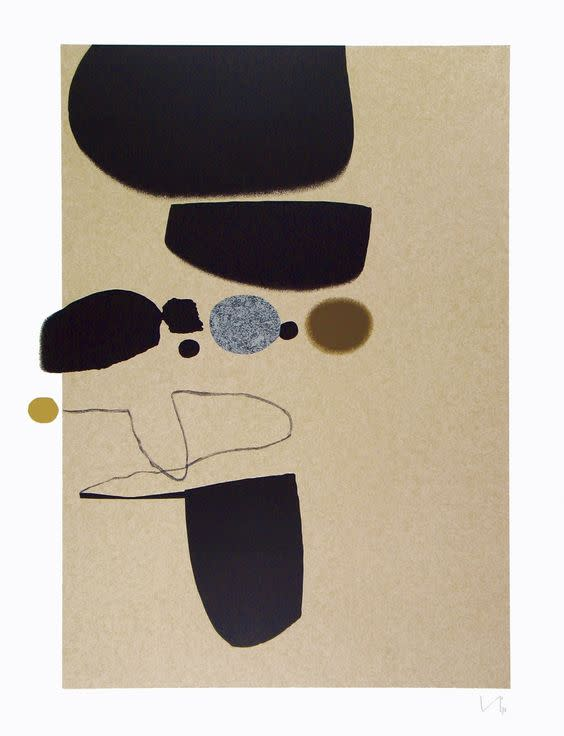 "<span class=""link fancybox-details-link""><a href=""/artists/84-victor-pasmore-ch-cbe/works/3806-victor-pasmore-ch-cbe-points-of-contact-no.-25-1974/"">View Detail Page</a></span><div class=""artist""><strong>Victor Pasmore CH CBE</strong></div> 1908–1998 <div class=""title""><em>Points of Contact No. 25</em>, 1974</div> <div class=""signed_and_dated"">signed in pencil</div> <div class=""medium"">screenprint in colours on wove paper</div> <div class=""dimensions"">image size: 73.4 x 55 cm<br /> sheet size: 98.7 x 65.8 cm</div> <div class=""edition_details"">6/70</div><div class=""copyright_line"">© The Estate of Victor Pasmore</div>"