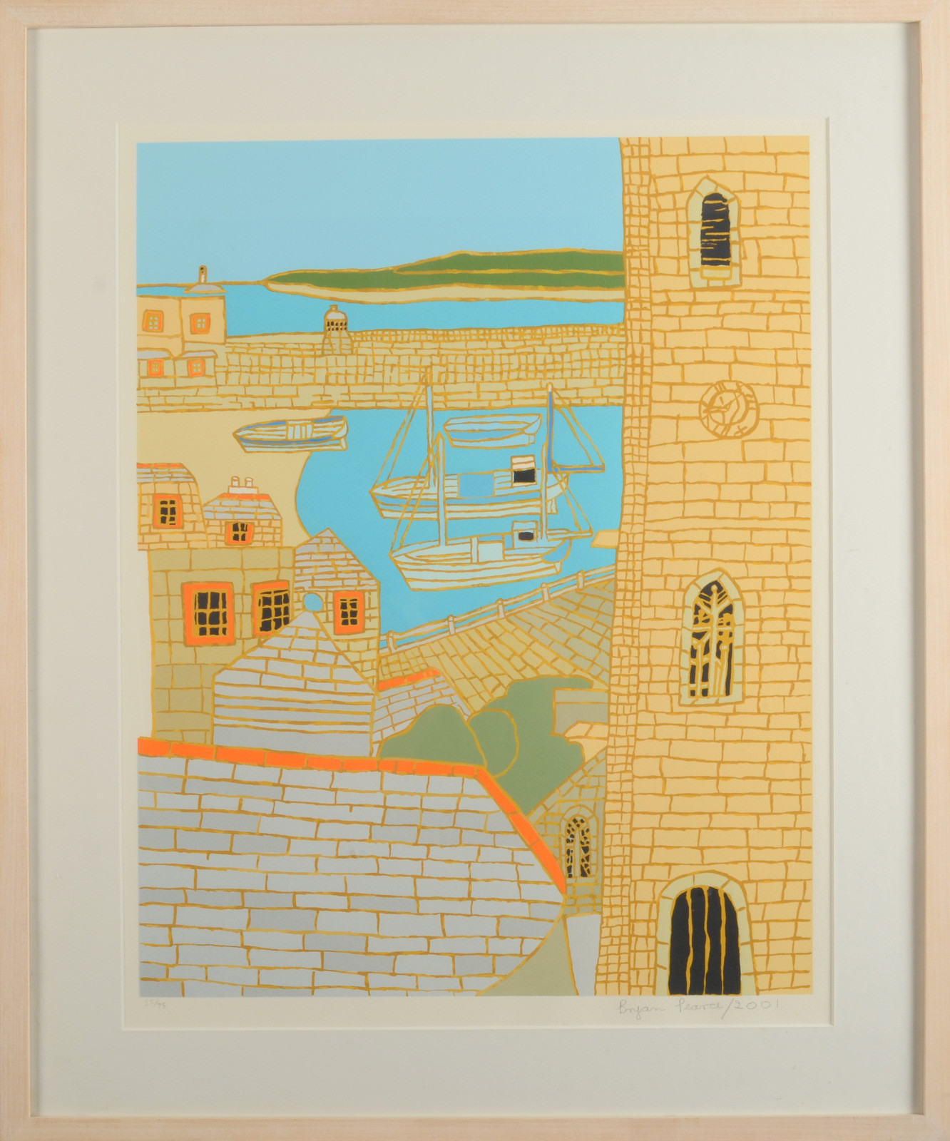 <span class=&#34;link fancybox-details-link&#34;><a href=&#34;/artists/85-bryan-pearce/works/4928-bryan-pearce-st-ives-harbour-view-2001/&#34;>View Detail Page</a></span><div class=&#34;artist&#34;><strong>Bryan Pearce</strong></div> 1929-2007 <div class=&#34;title&#34;><em>St Ives Harbour View</em>, 2001</div> <div class=&#34;signed_and_dated&#34;>signed, dated and editioned in pencil </div> <div class=&#34;medium&#34;>silkscreen print on paper</div> <div class=&#34;dimensions&#34;>artwork: 56 x 44 cm<br /> 22 1/4 x 17 1/4 in</div> <div class=&#34;edition_details&#34;>Edition 35 of 75</div><div class=&#34;copyright_line&#34;>© The Estate of Bryan Pearce</div>