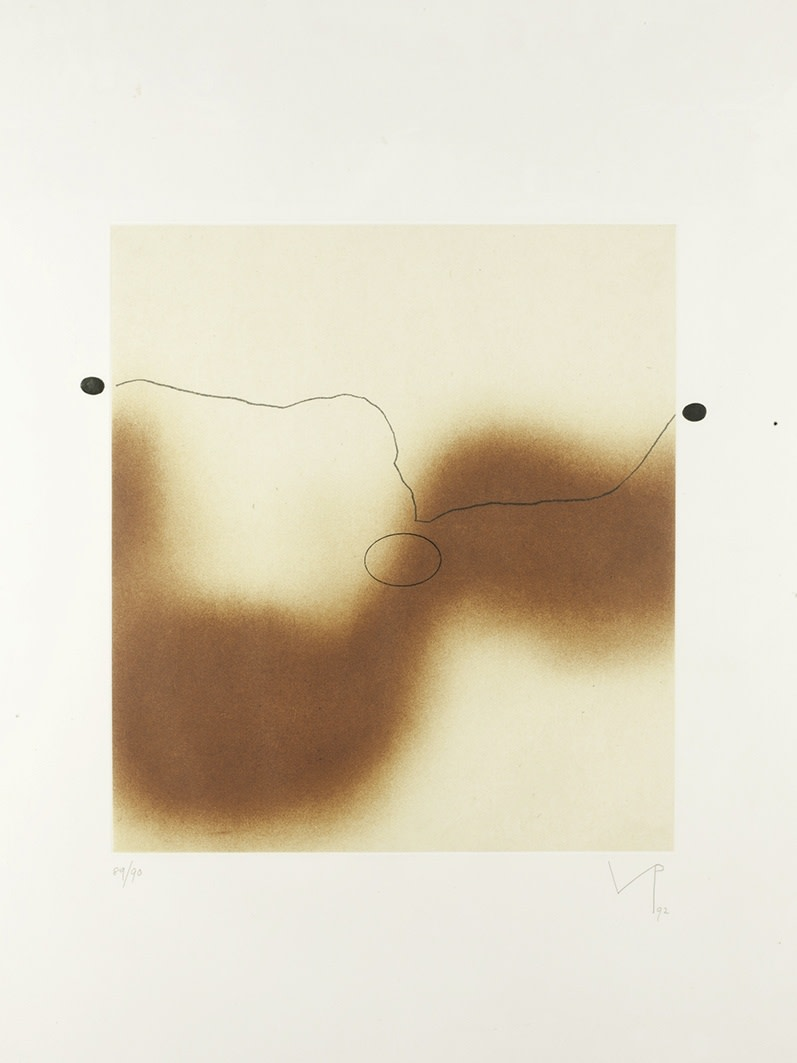 "<span class=""link fancybox-details-link""><a href=""/artists/84-victor-pasmore-ch-cbe/works/2346-victor-pasmore-ch-cbe-the-desert-sand-1992/"">View Detail Page</a></span><div class=""artist""><strong>Victor Pasmore CH CBE</strong></div> 1908–1998 <div class=""title""><em>The Desert Sand</em>, 1992</div> <div class=""signed_and_dated"">signed, dated and numbered 89/90 in pencil to the margin</div> <div class=""medium"">etching with aquatint and soft-ground in colours on chine collé supported on wove paper with full margins</div> <div class=""dimensions"">plate size: 43.5 x 39 cm<br />17 1/8 x 15 3/8 inches<br /><br />sheet size: 82 x 60 cm<br />32 1/4 x 23 5/8 inches</div> <div class=""edition_details"">89/90 aside from 15 Artist's Proofs</div><div class=""copyright_line"">© The Estate of Victor Pasmore</div>"